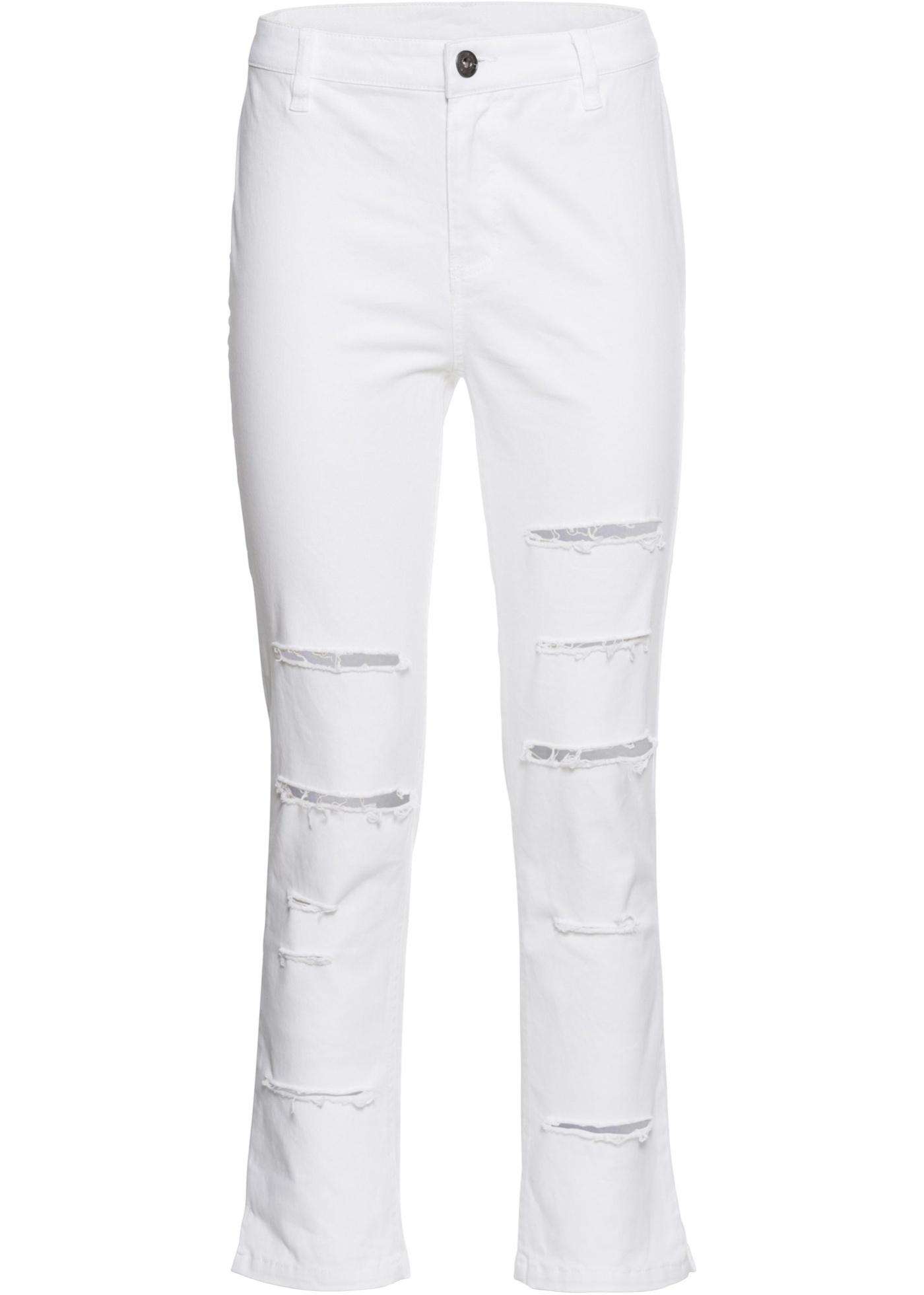 7/8-Hose High Waist mit Schlitzen in weiß für Damen von bonprix