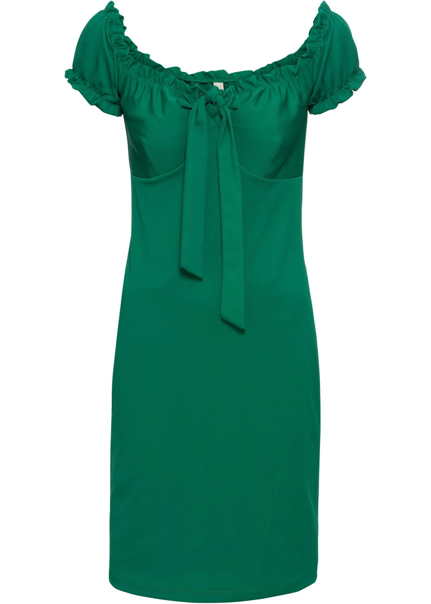 Carmen-Kleid mit Schleife in grün für Damen von bonprix