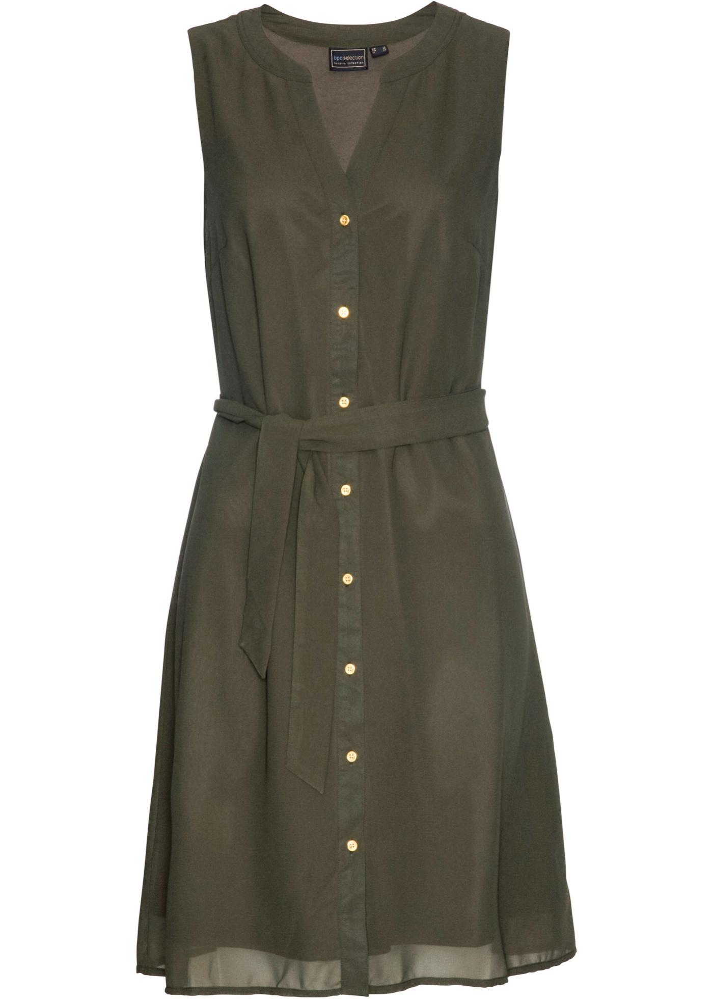 Kleid mit Bindegürtel ohne Ärmel  in grün für Damen von bonprix