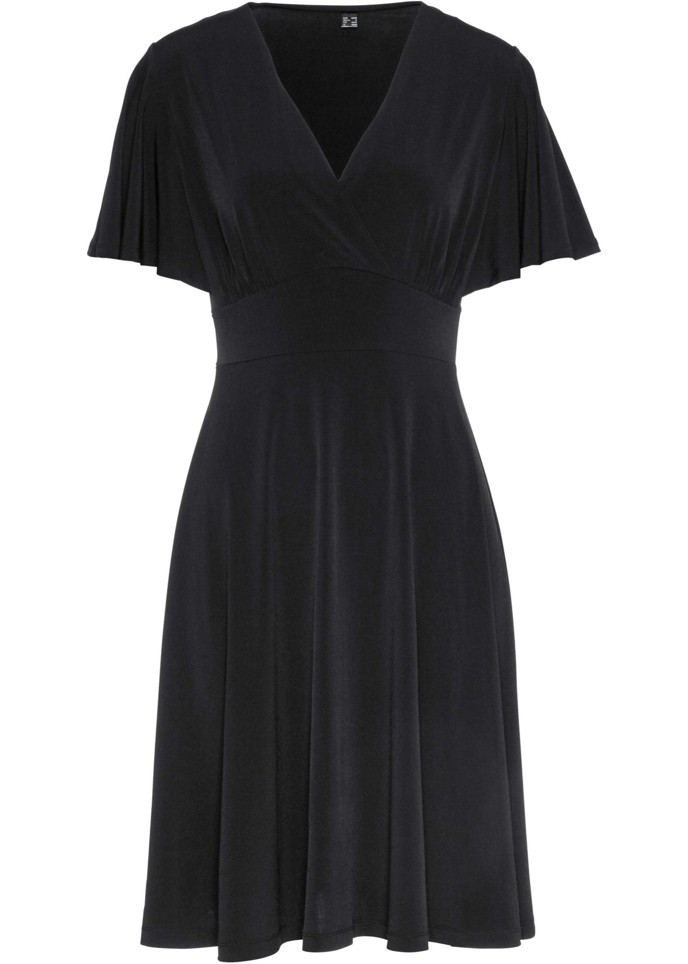 Shirtkleid Flügelärmel  in schwarz (V-Ausschnitt) für Damen von bonprix