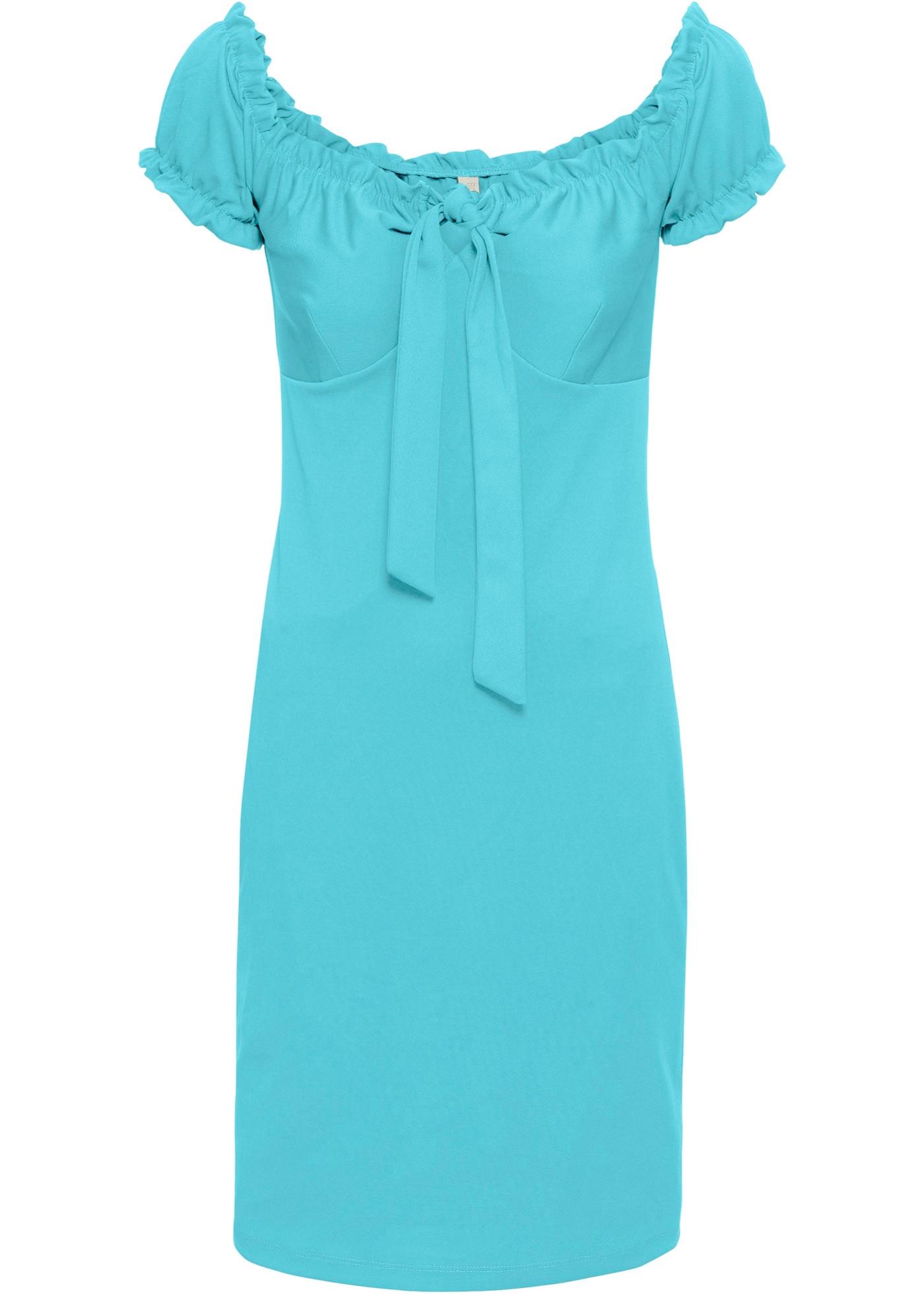 Carmen-Kleid mit Schleife in blau für Damen von bonprix