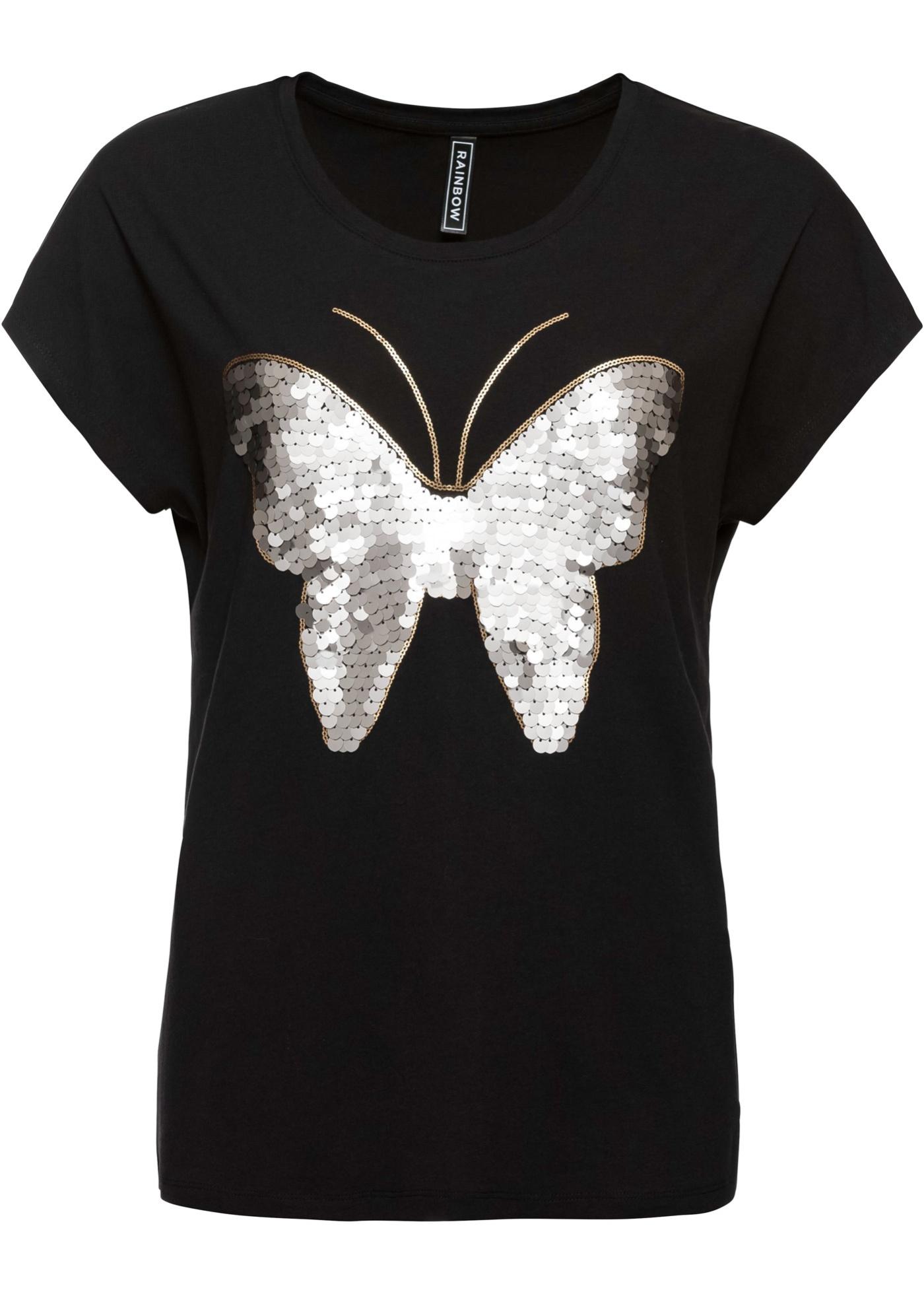 Shirt mit Pailletten Flügelärmel  in schwarz für Damen von bonprix