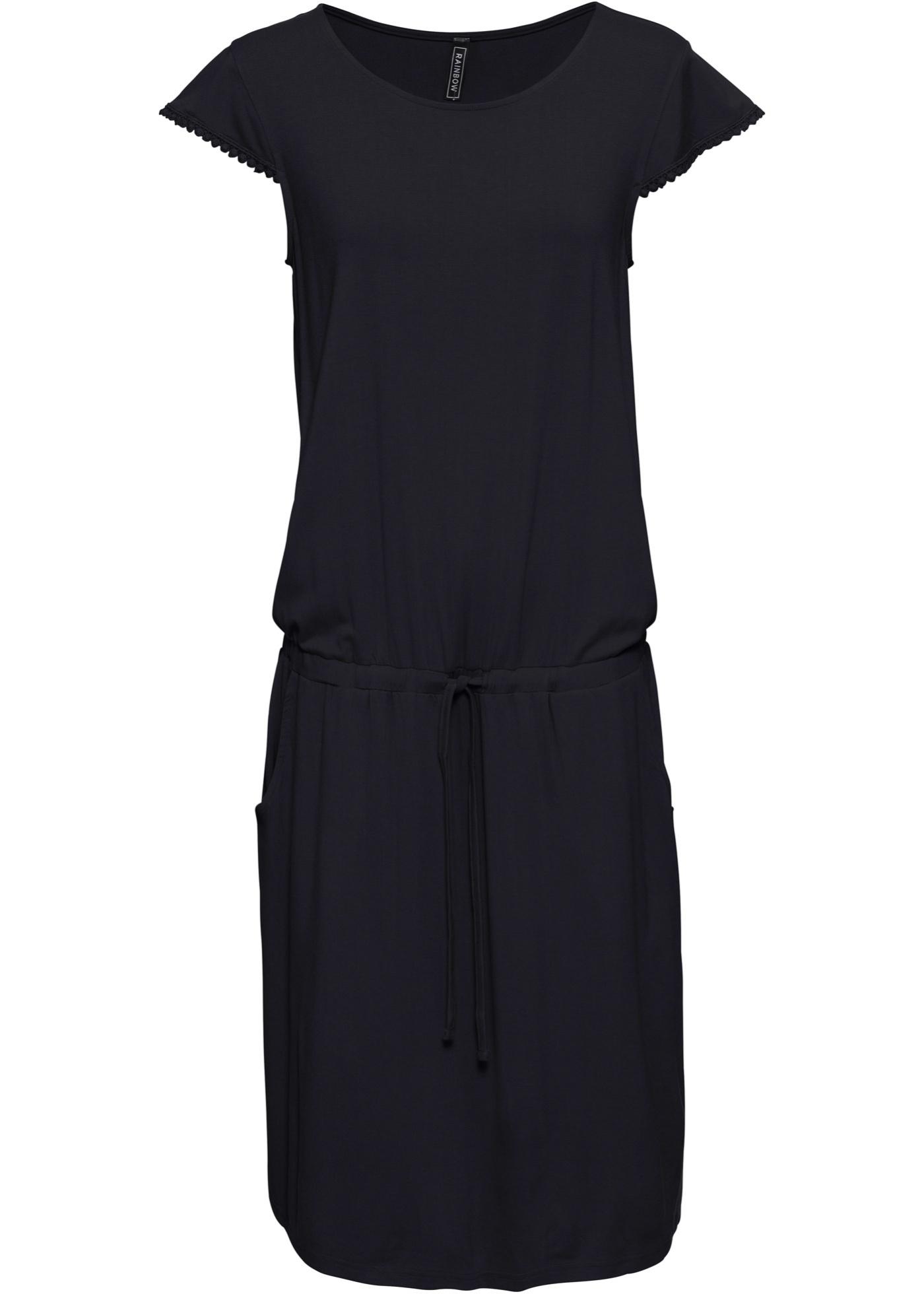 Midikleid kurzer Arm  in schwarz (Rundhals) für Damen von bonprix