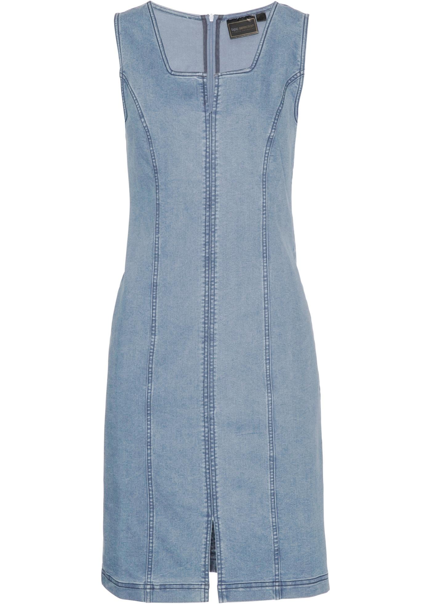 Jeanskleid ohne Ärmel  in blau (Carré-Ausschnitt) für Damen von bonprix