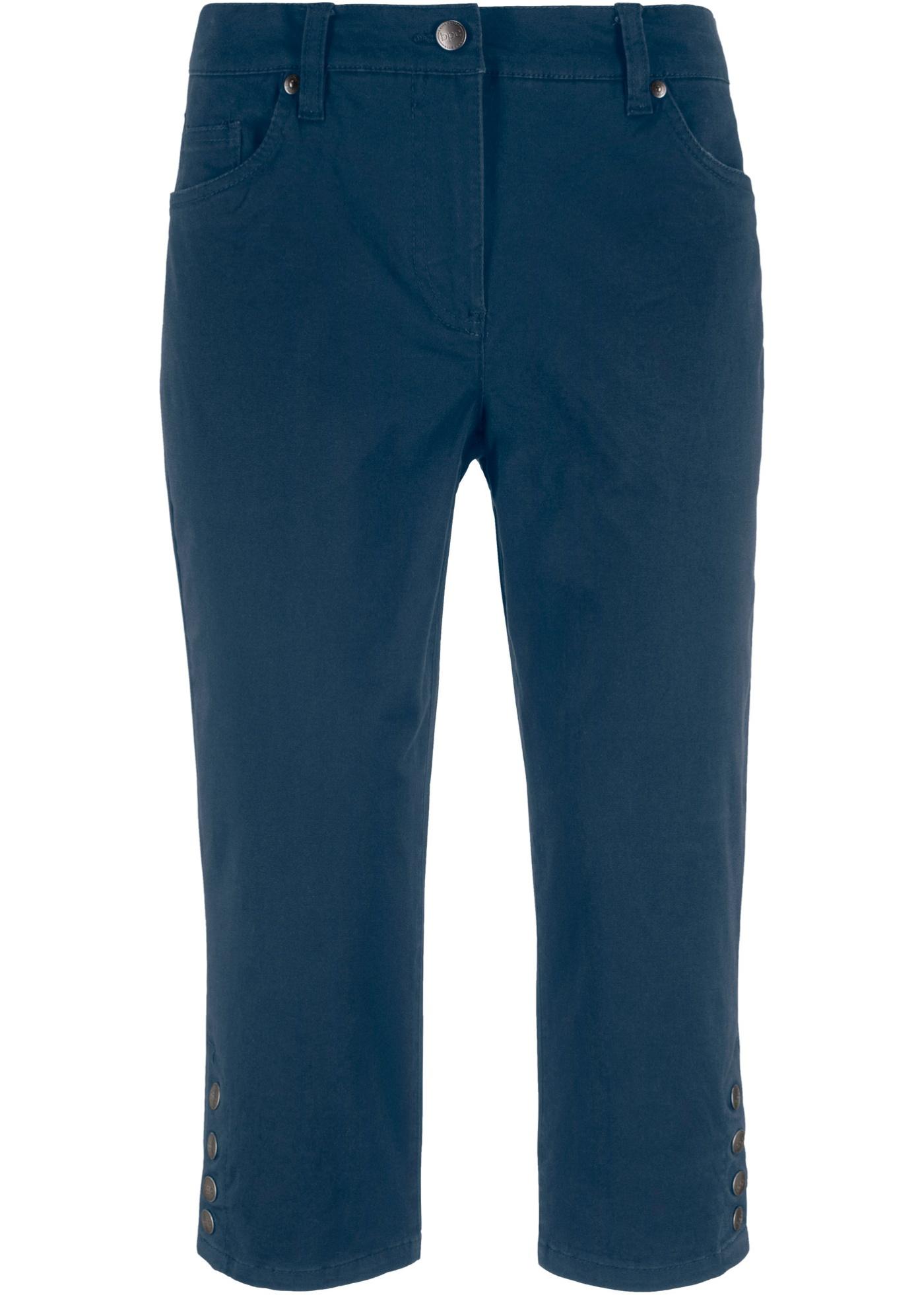 Capri-Stretchhose mit Komfortbund und Knöpfen
