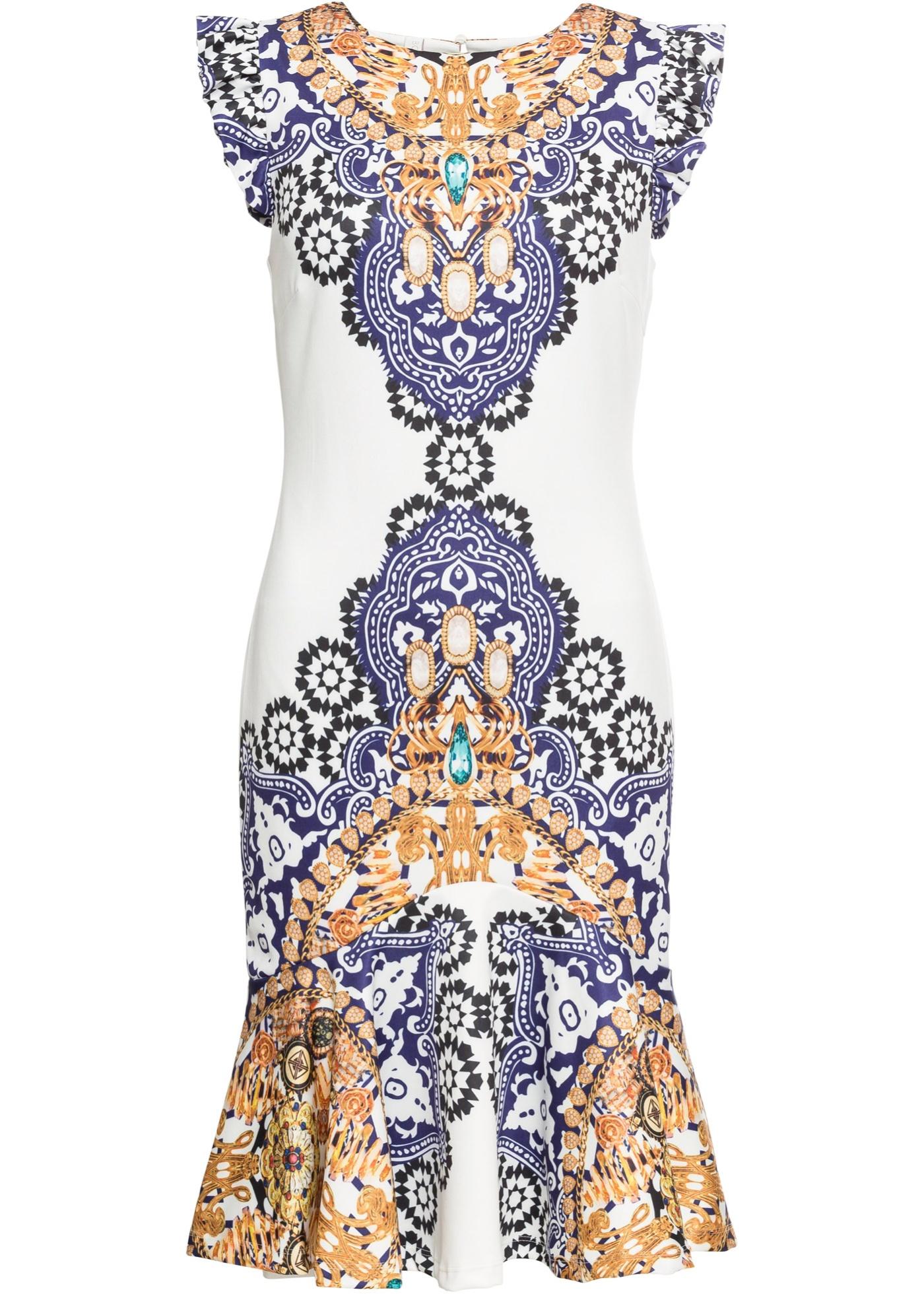 Kleid mit Dekosteinen ohne Ärmel  in weiß für Damen von bonprix