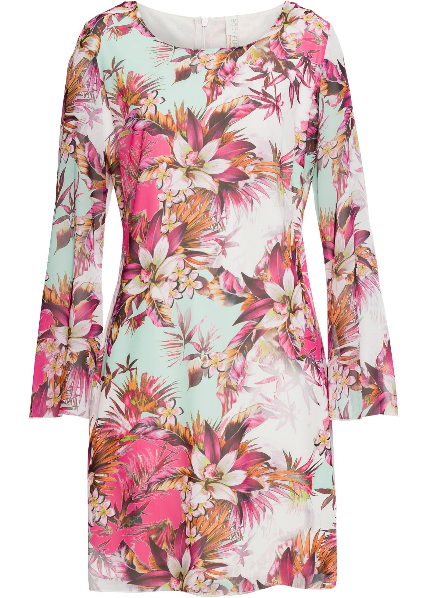 Chiffon Kleid langarm  in pink für Damen von bonprix