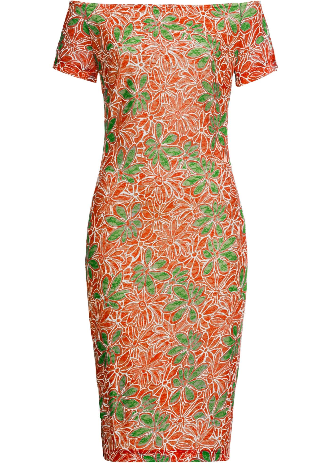 Off-Shoulder-Kleid mit Blumen kurzer Arm  in orange für Damen von bonprix