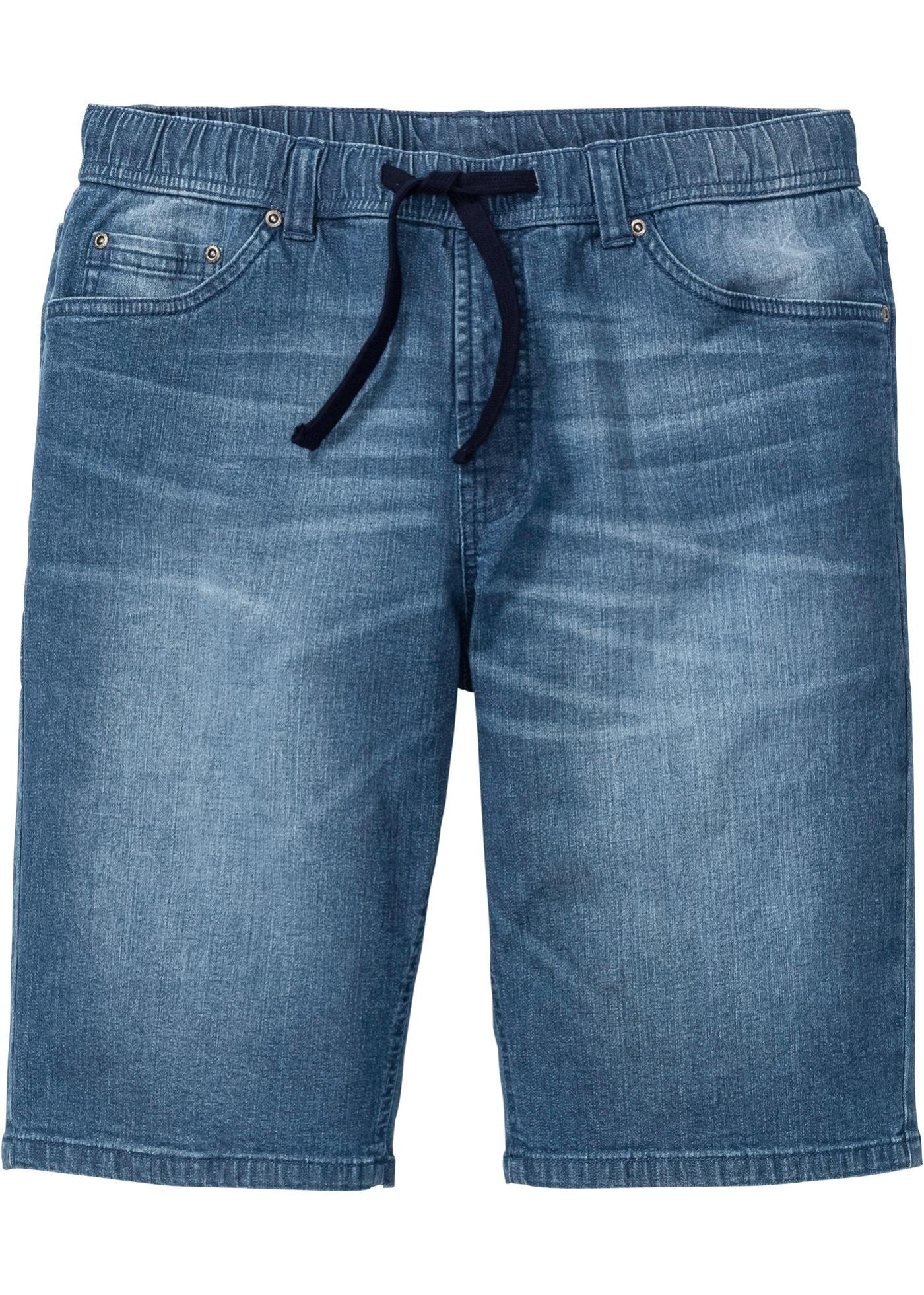 Slim Fit Schlupf-Bermuda in blau für Herren von bonprix