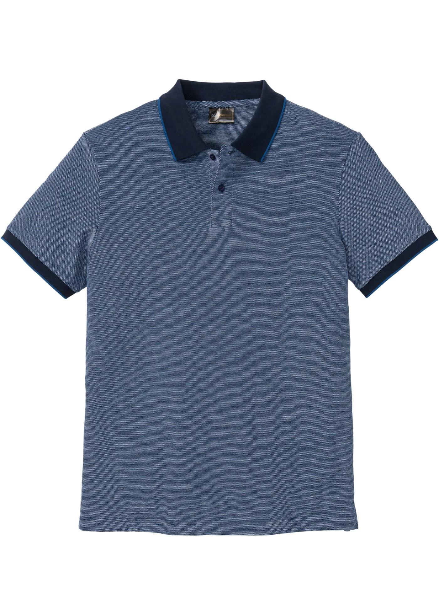 Poloshirt mit Kontrastkragen kurzer Arm  in blau für Herren von bonprix