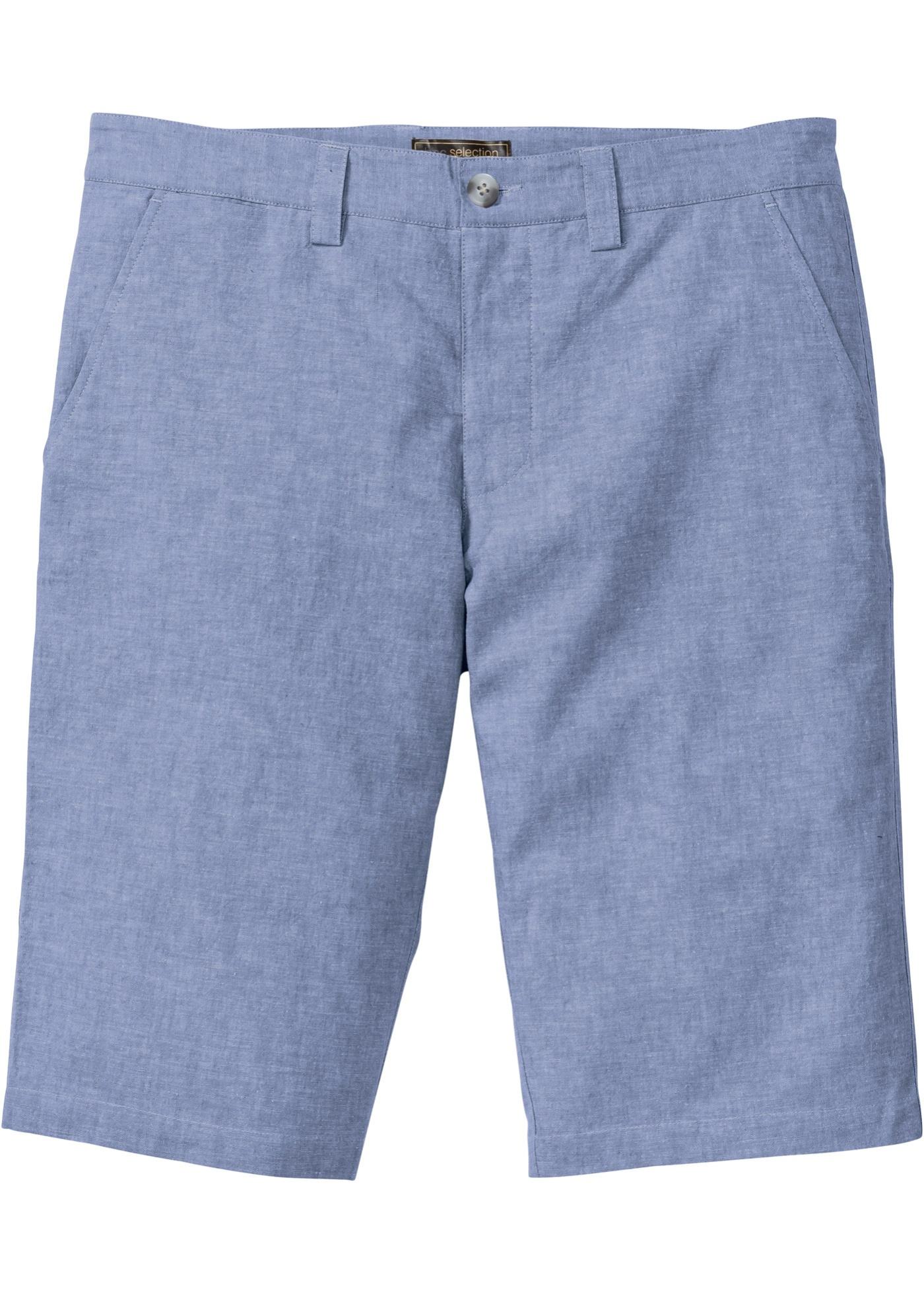 Leinen-Mix Chino-Bermuda in blau für Herren von bonprix
