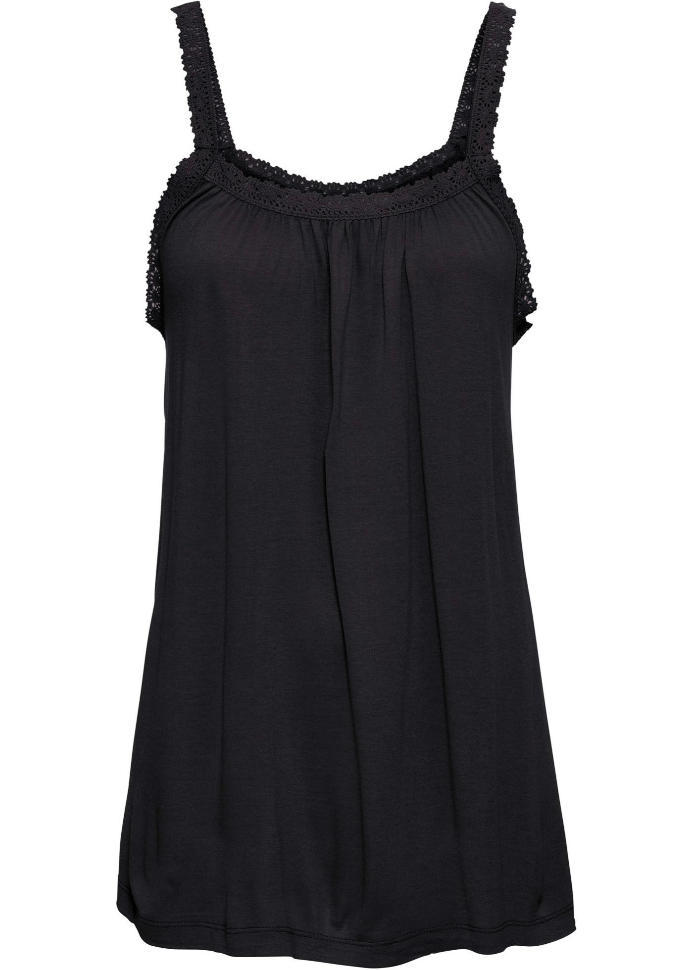 Shirttop mit Spitzenborte ohne Ärmel  in schwarz für Damen von bonprix