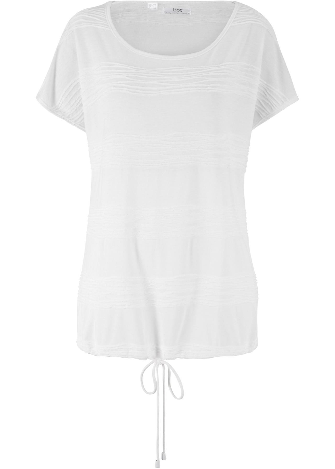 Struktur-Shirt mit verstellbarem Bündchen am Saum kurzer Arm  in weiß für Damen von bonprix
