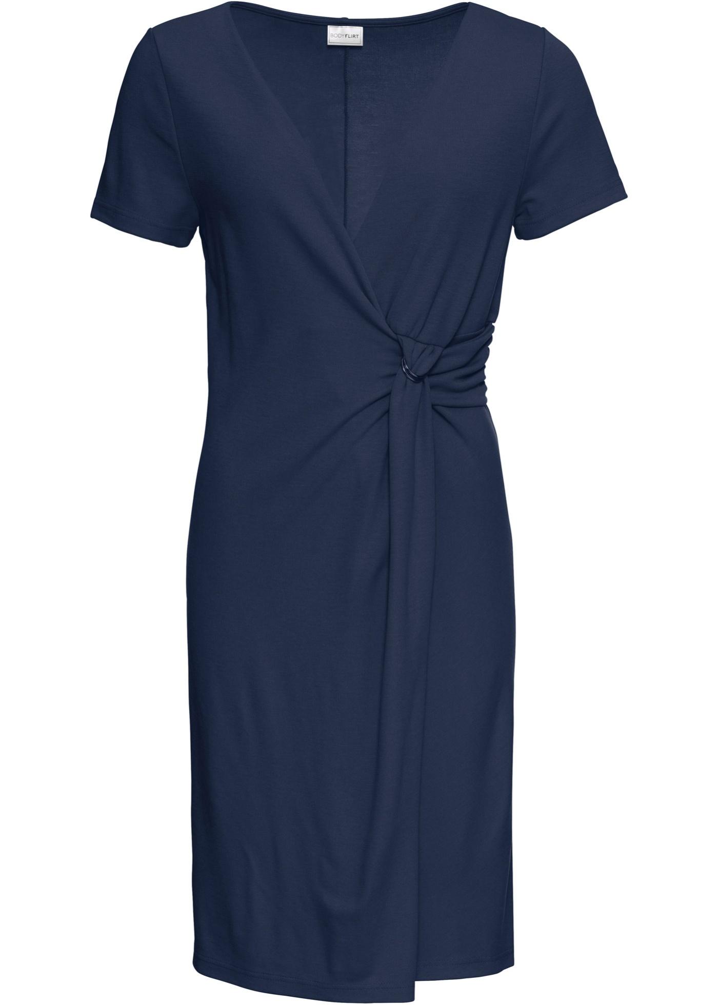 Kleid aus Punto di Roma kurzer Arm  in blau für Damen von bonprix