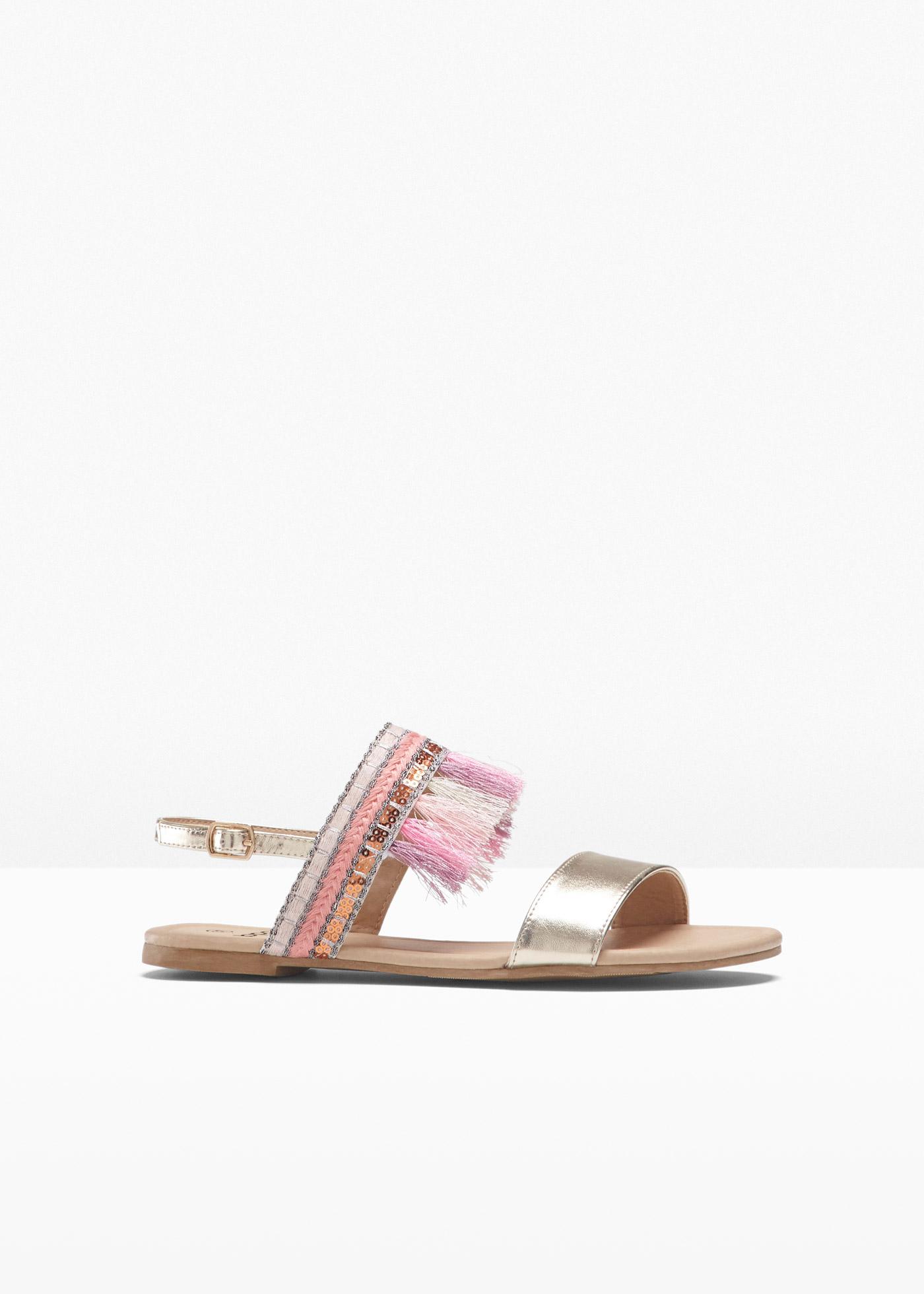 Sandale mit 0 cm Flach in gold von bonprix