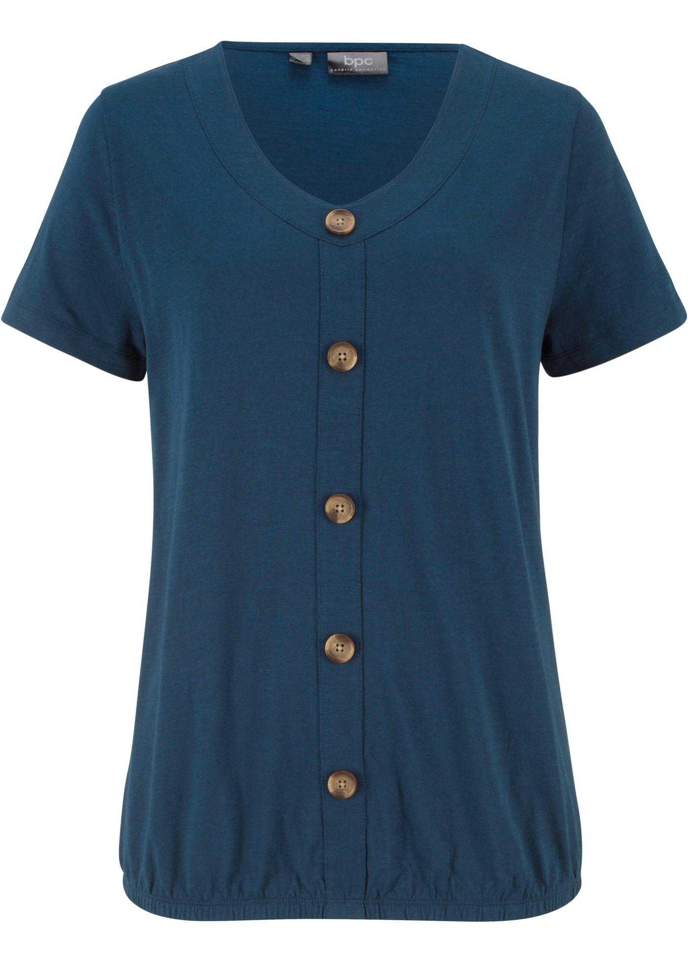 Shirt mit Knopfleiste und Gummibund kurzer Arm  in blau für Damen von bonprix