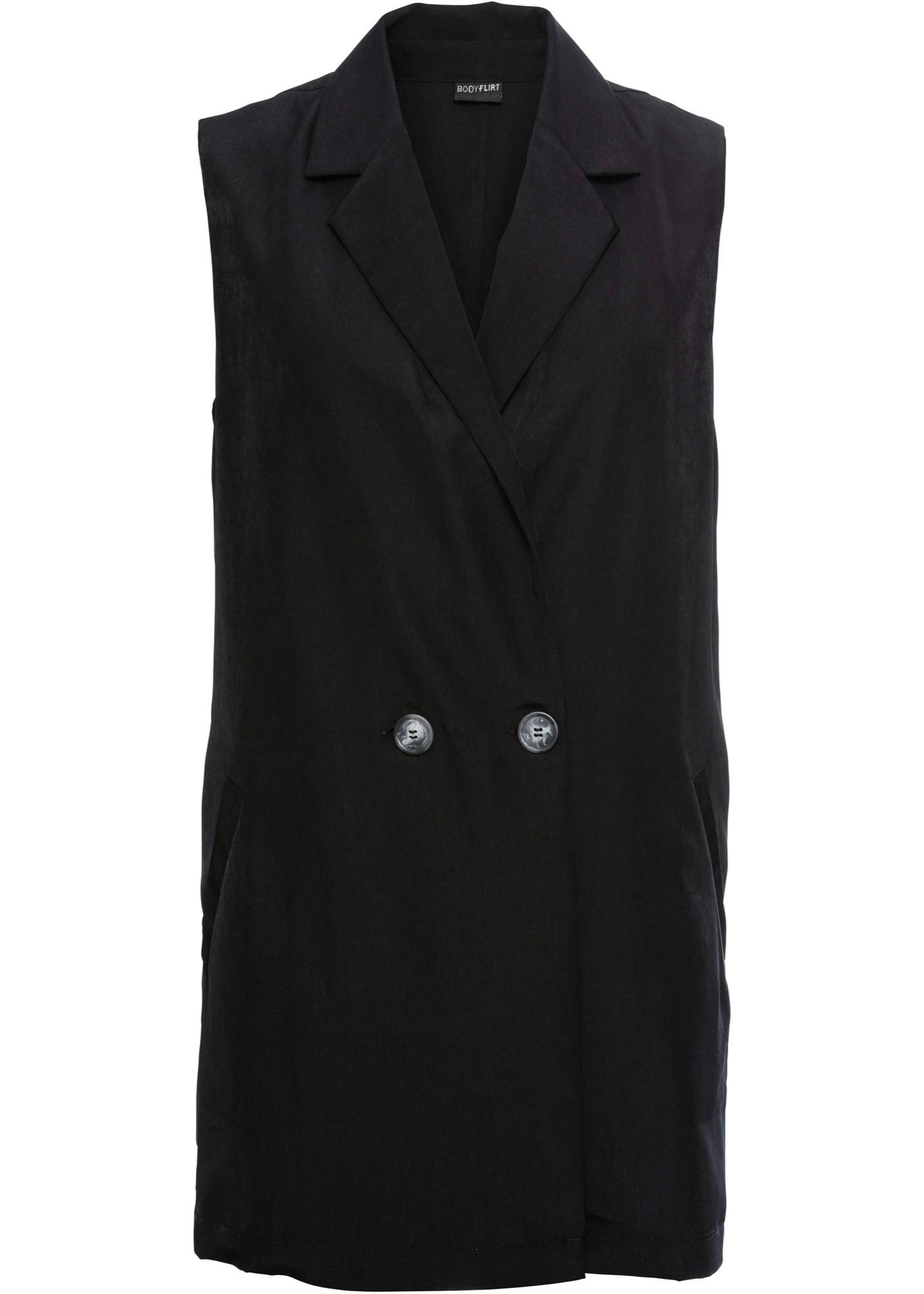 Longweste ohne Ärmel  in schwarz (V-Ausschnitt) für Damen von bonprix