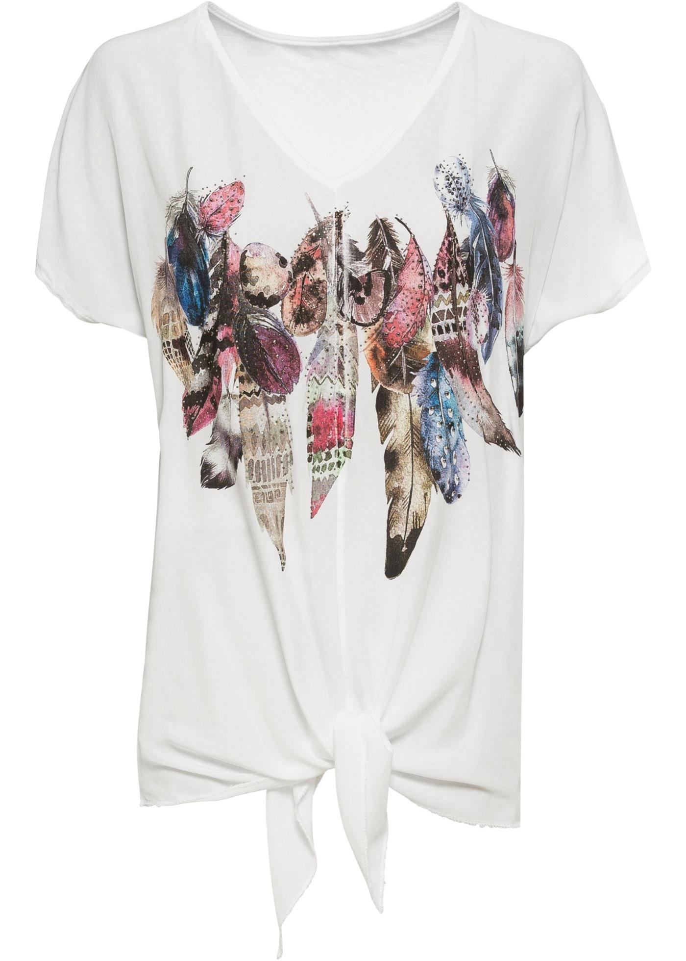 Shirt mit Federdruck und Schmucksteinapplikation kurzer Arm  in weiß für Damen von bonprix