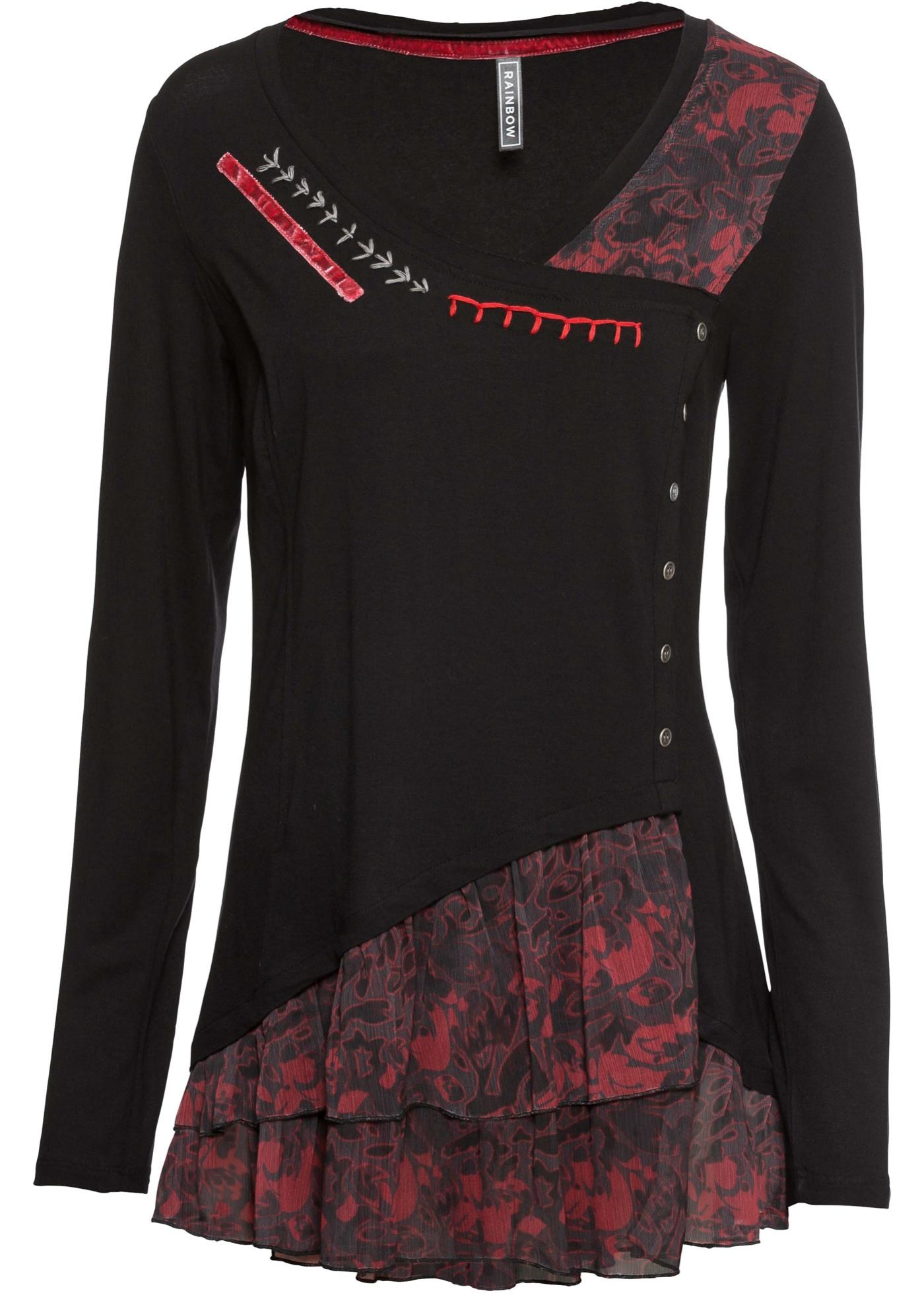 Shirttunika langarm  in schwarz für Damen von bonprix