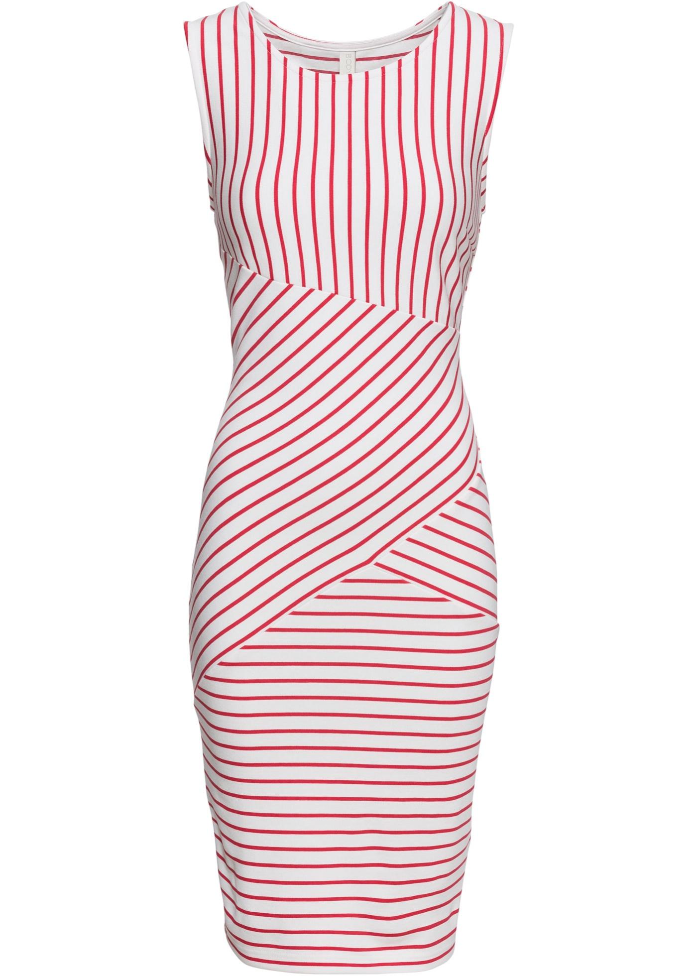 Gestreiftes Kleid ohne Ärmel  in weiß für Damen von bonprix