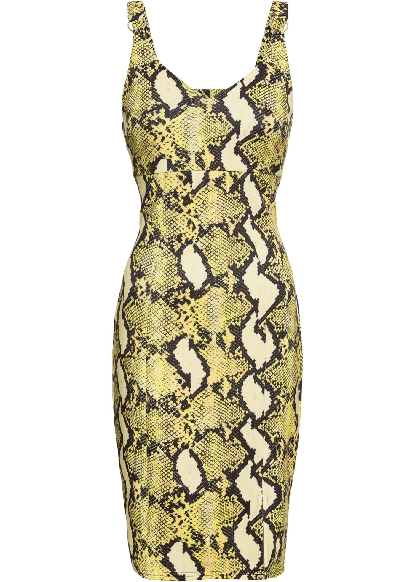 Kleid mit Schlangenprint ohne Ärmel  in gelb für Damen von bonprix