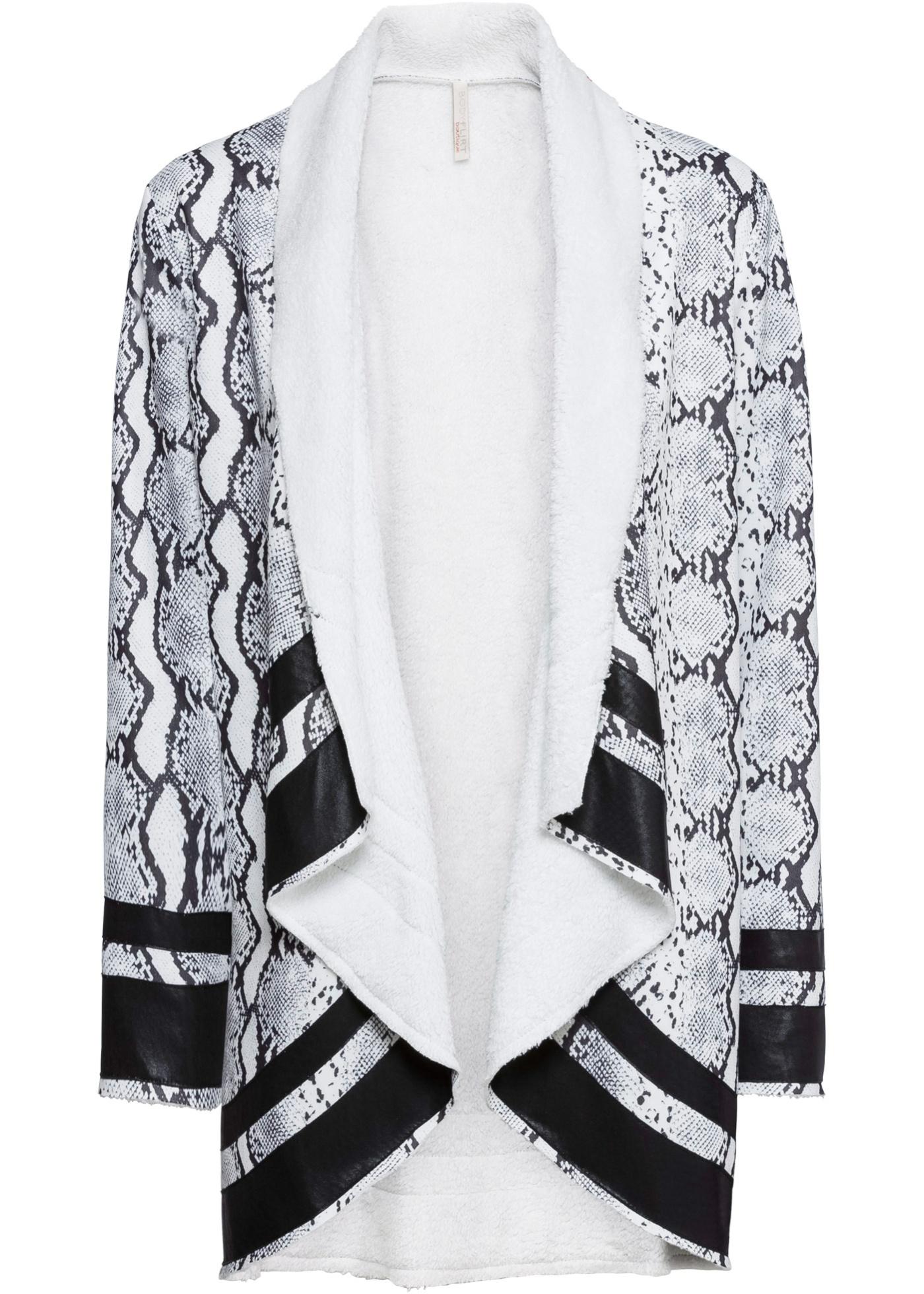 Poncho mit Schlangenprint langarm  in schwarz für Damen von bonprix