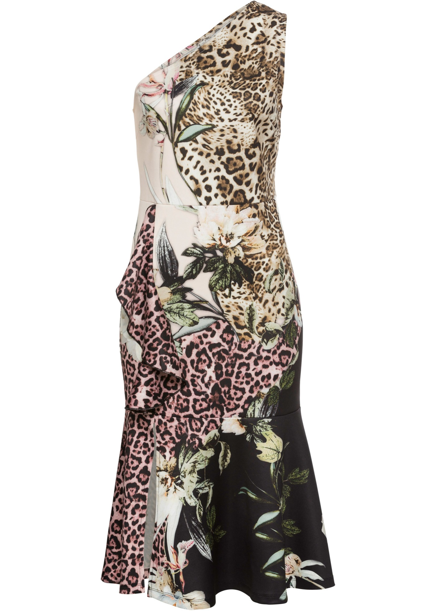 One-Shoulder-Kleid mit Leo-Print