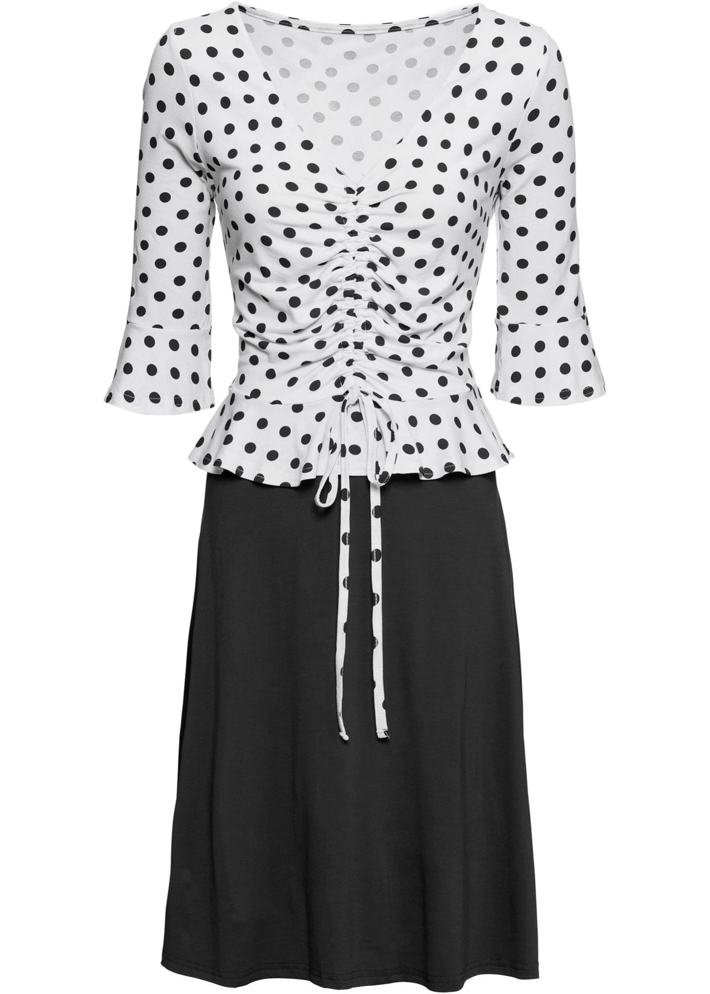 Jersey-Kleid mit Volants und Schnürung 3/4 Arm  in schwarz für Damen von bonprix