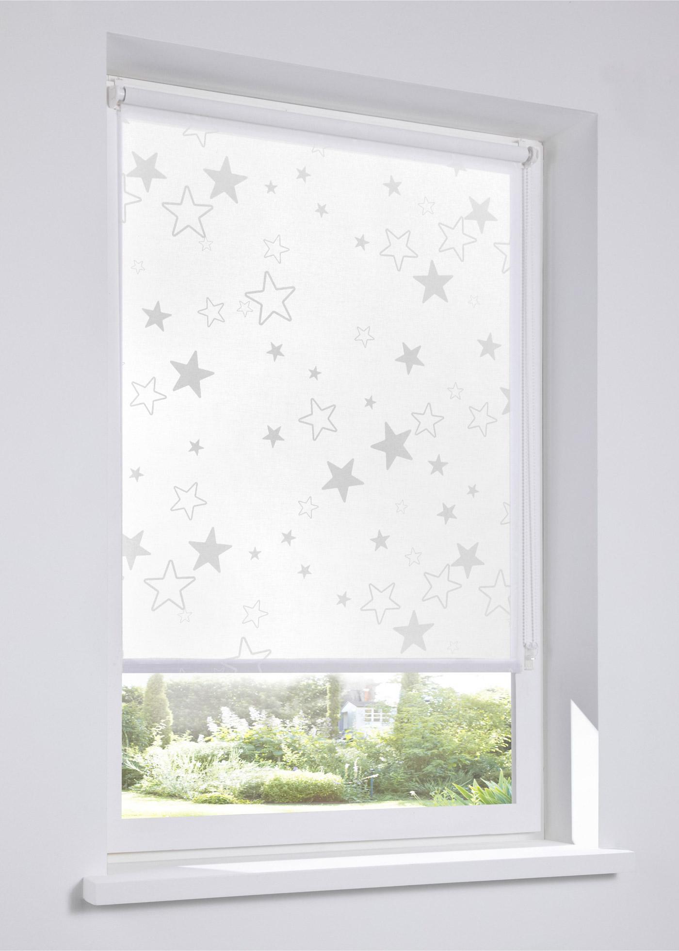 Sichtschutzrollo mit Sternen in weiß von bonprix