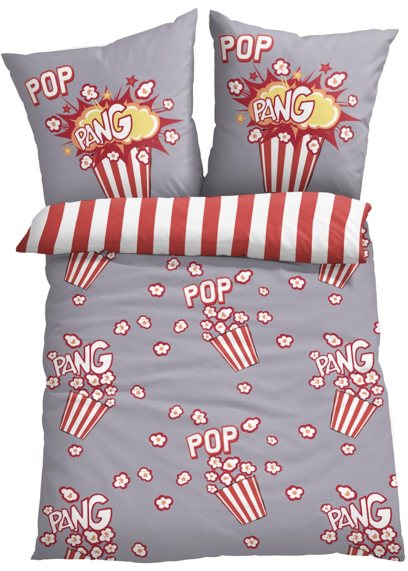 Wendebettwäsche mit Popcorn Motiv in rot von bonprix