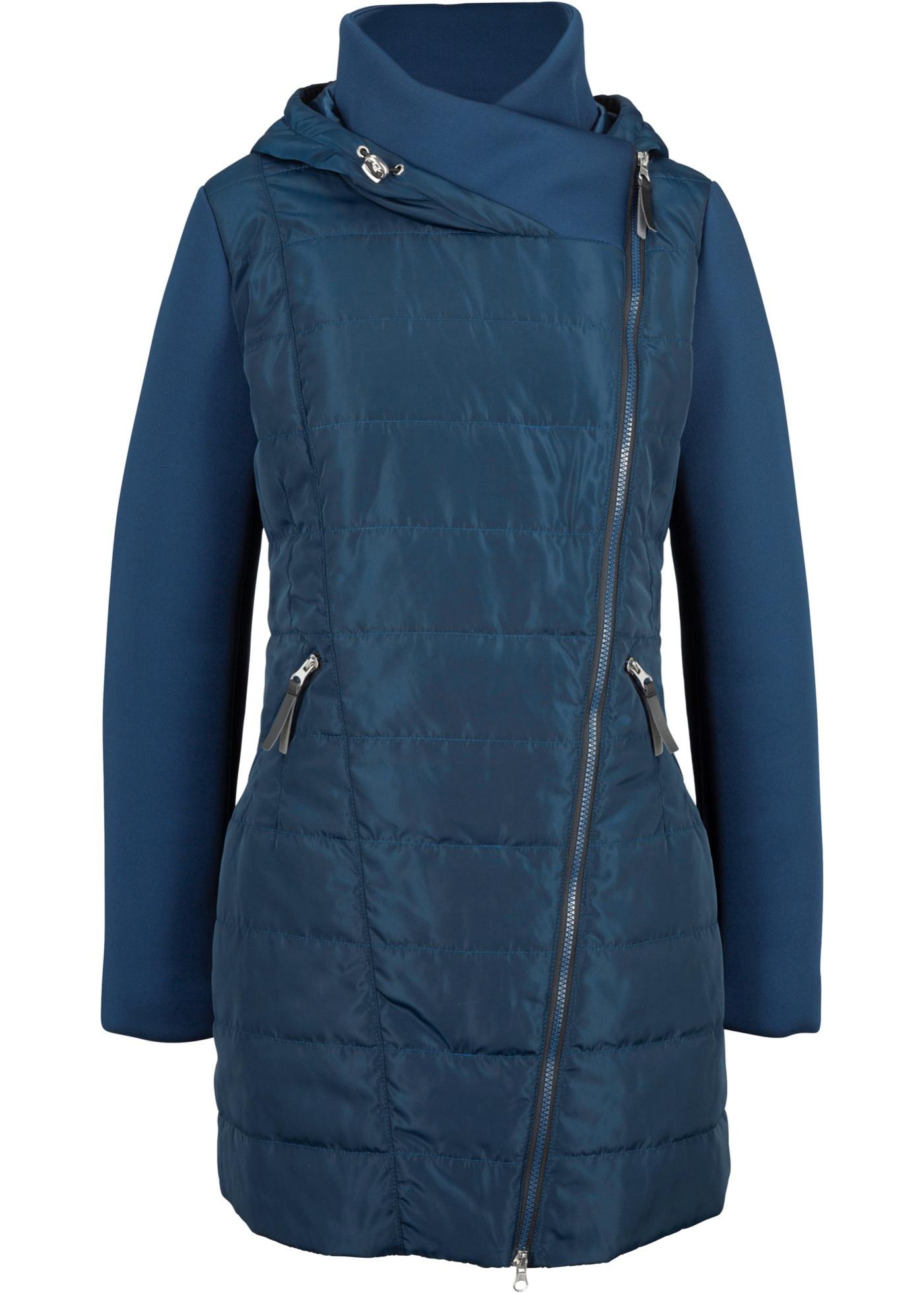 Jacke mit breitem Kragen und Kapuze langarm  in blau für Damen von bonprix