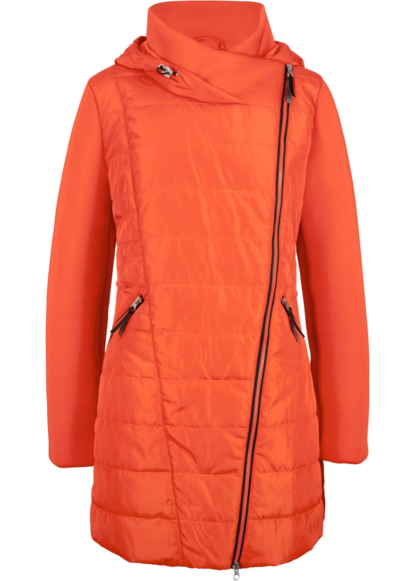 Jacke mit breitem Kragen und Kapuze langarm  in orange für Damen von bonprix