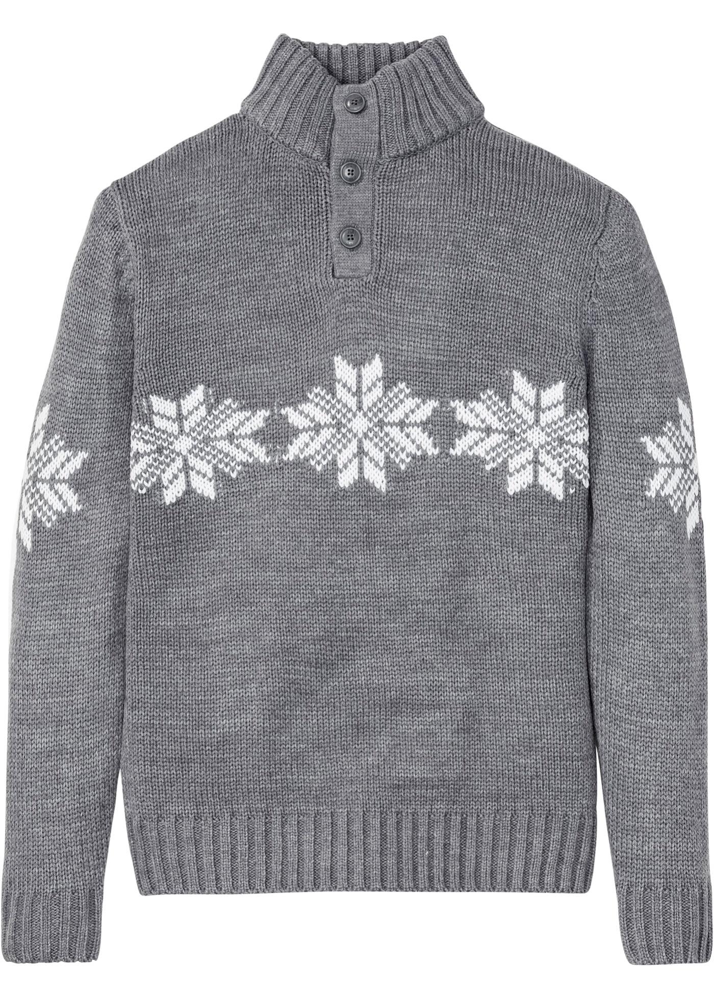 Pullover langarm  in grau für Herren von bonprix
