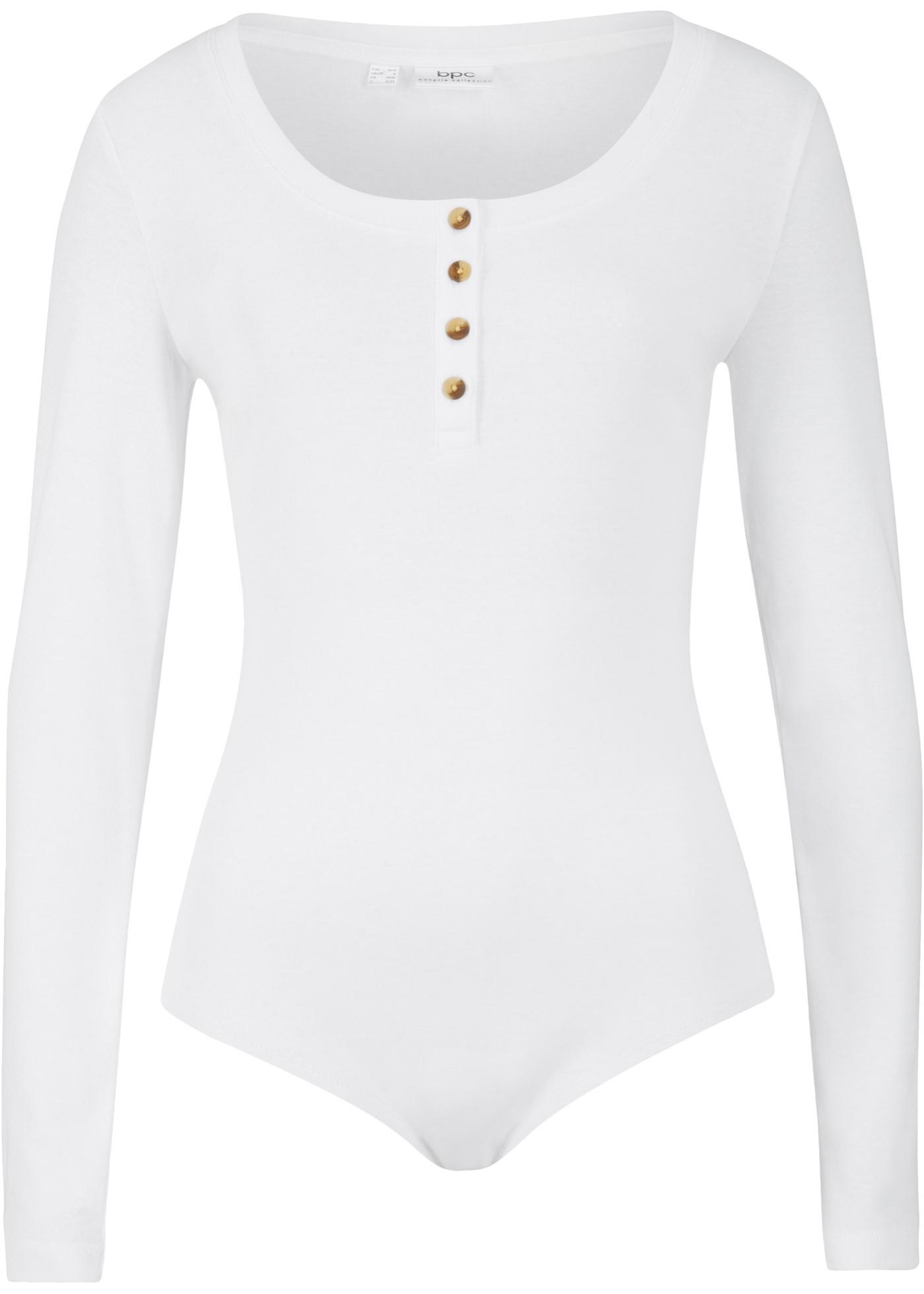 Body mit Knopfleiste langarm  in weiß für Damen von bonprix