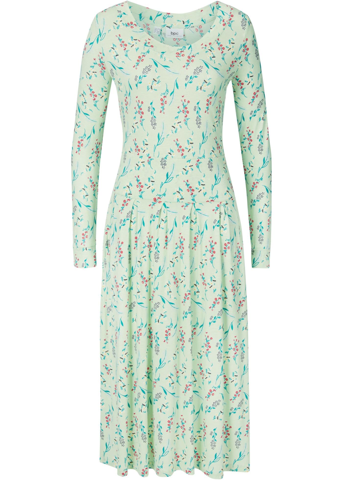 Nachhaltiges Kleid aus TENCEL™ Lyocell langarm  in grün für Damen von bonprix