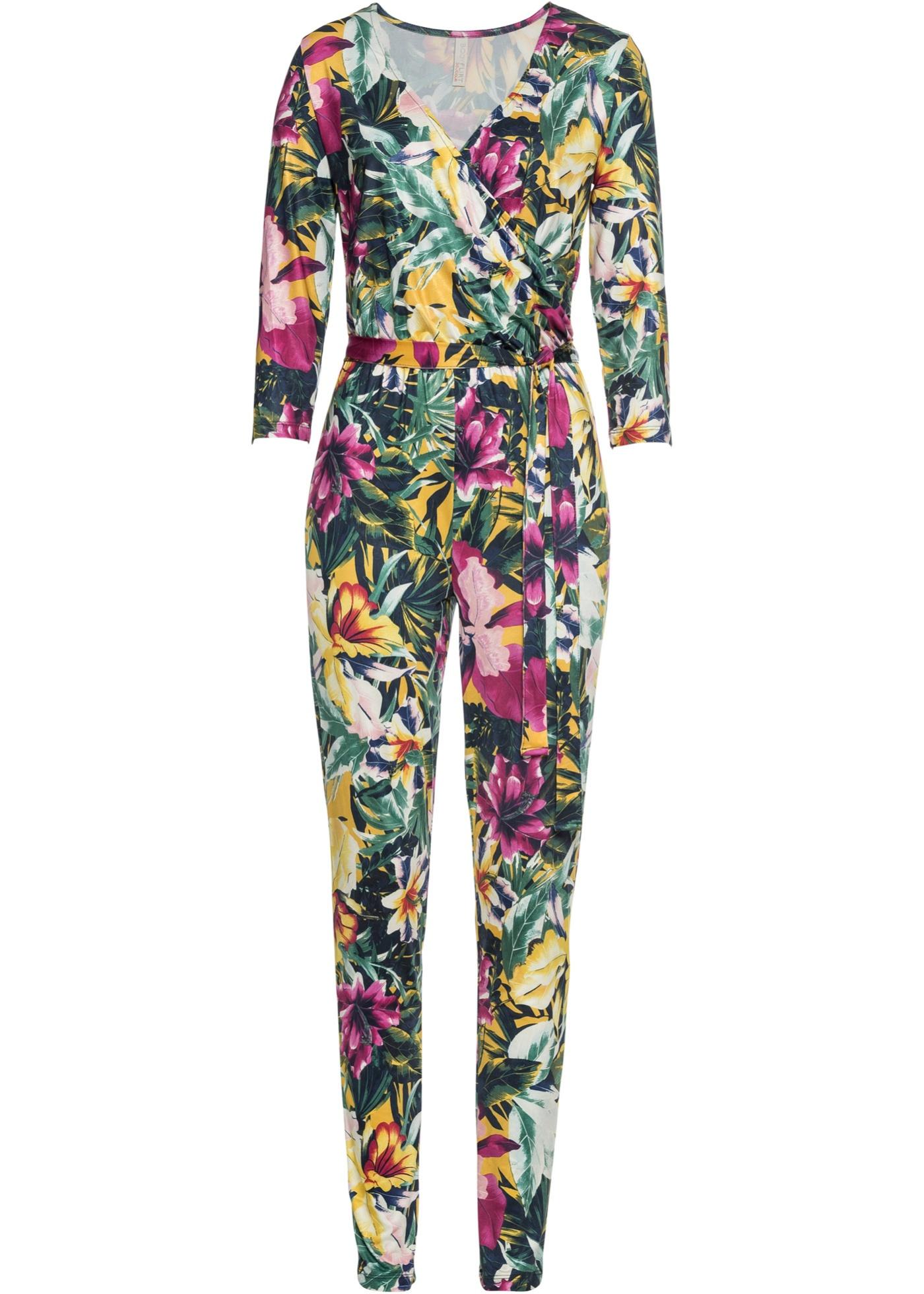 Jumpsuit mit Blumendruck 7/8 Arm  in gelb für Damen von bonprix
