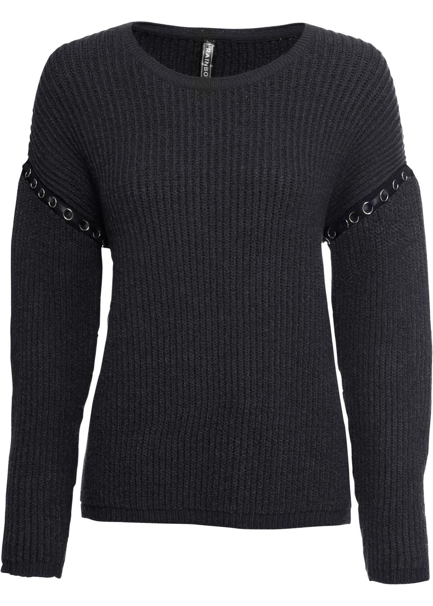 Rib-Pullover mit Ösen langarm  in grau für Damen von bonprix