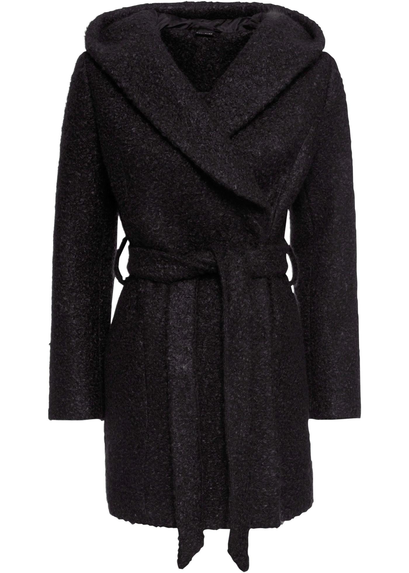 Bouclé-Mantel langarm  in schwarz für Damen von bonprix