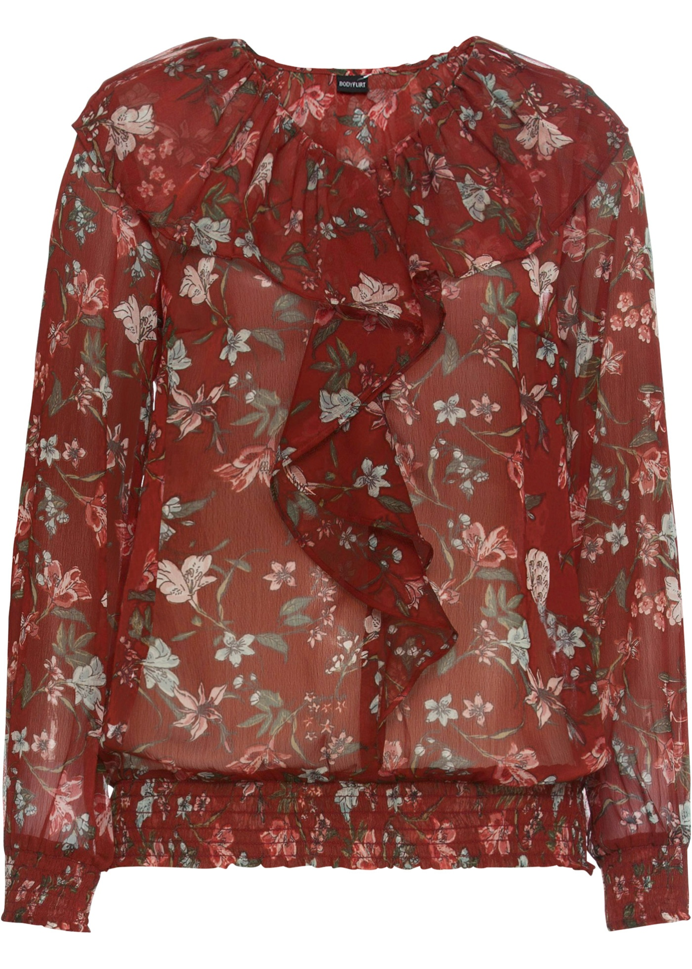 Bluse mit Volant langarm  in braun für Damen von bonprix