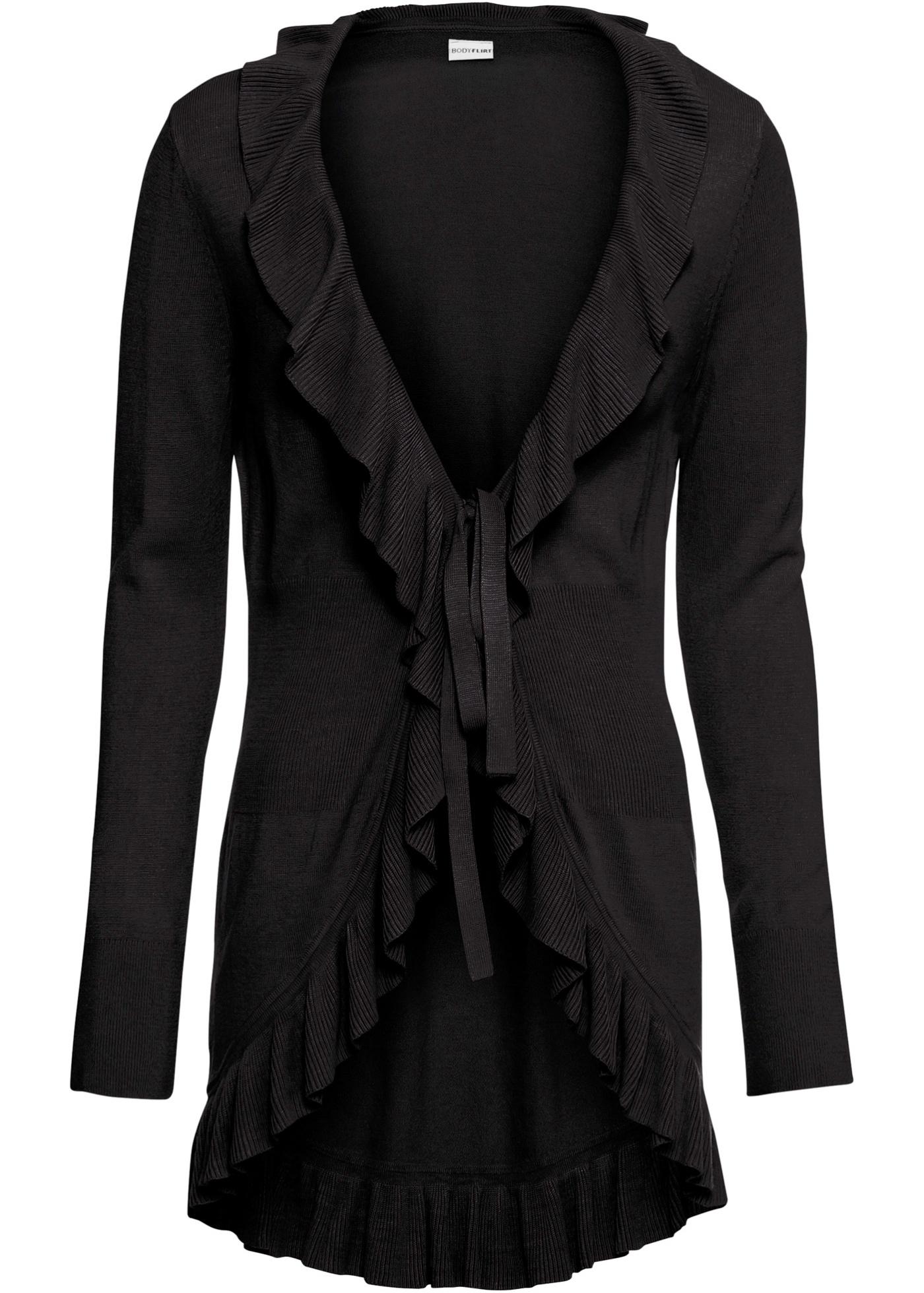 Strickjacke mit Volants langarm  in schwarz für Damen von bonprix