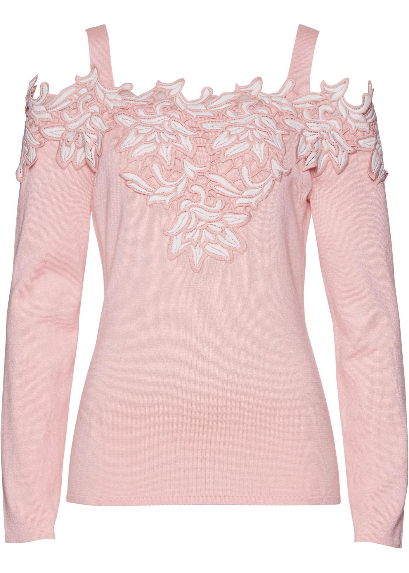 Premium Carmen-Pullover mit Applikation in rosa für Damen von bonprix