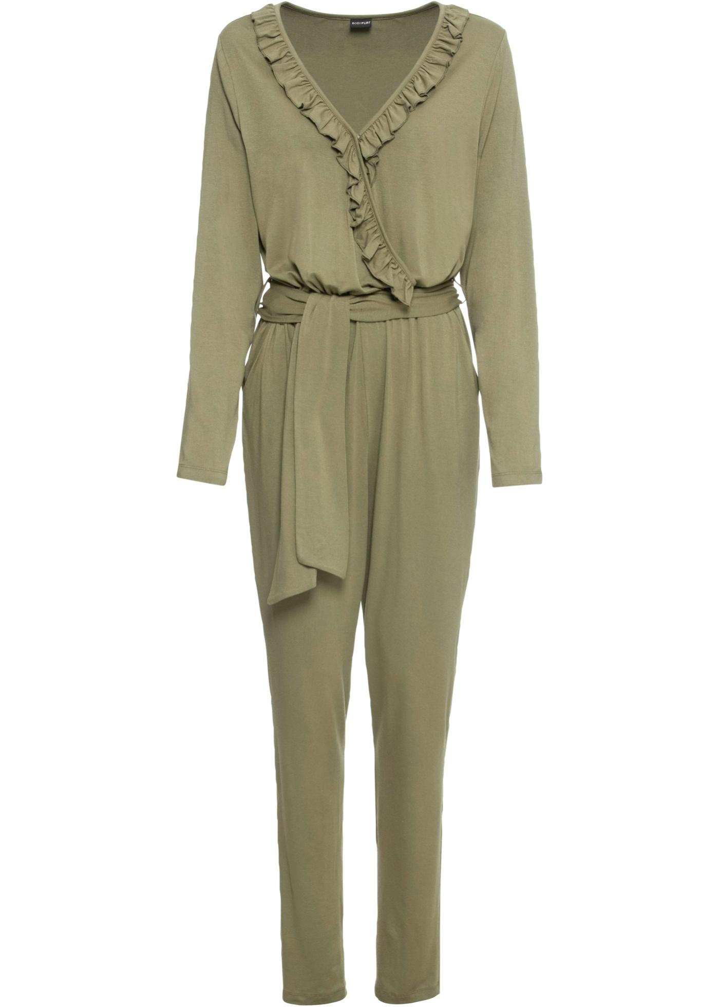 Jersey-Jumpsuit langarm  in grün für Damen von bonprix