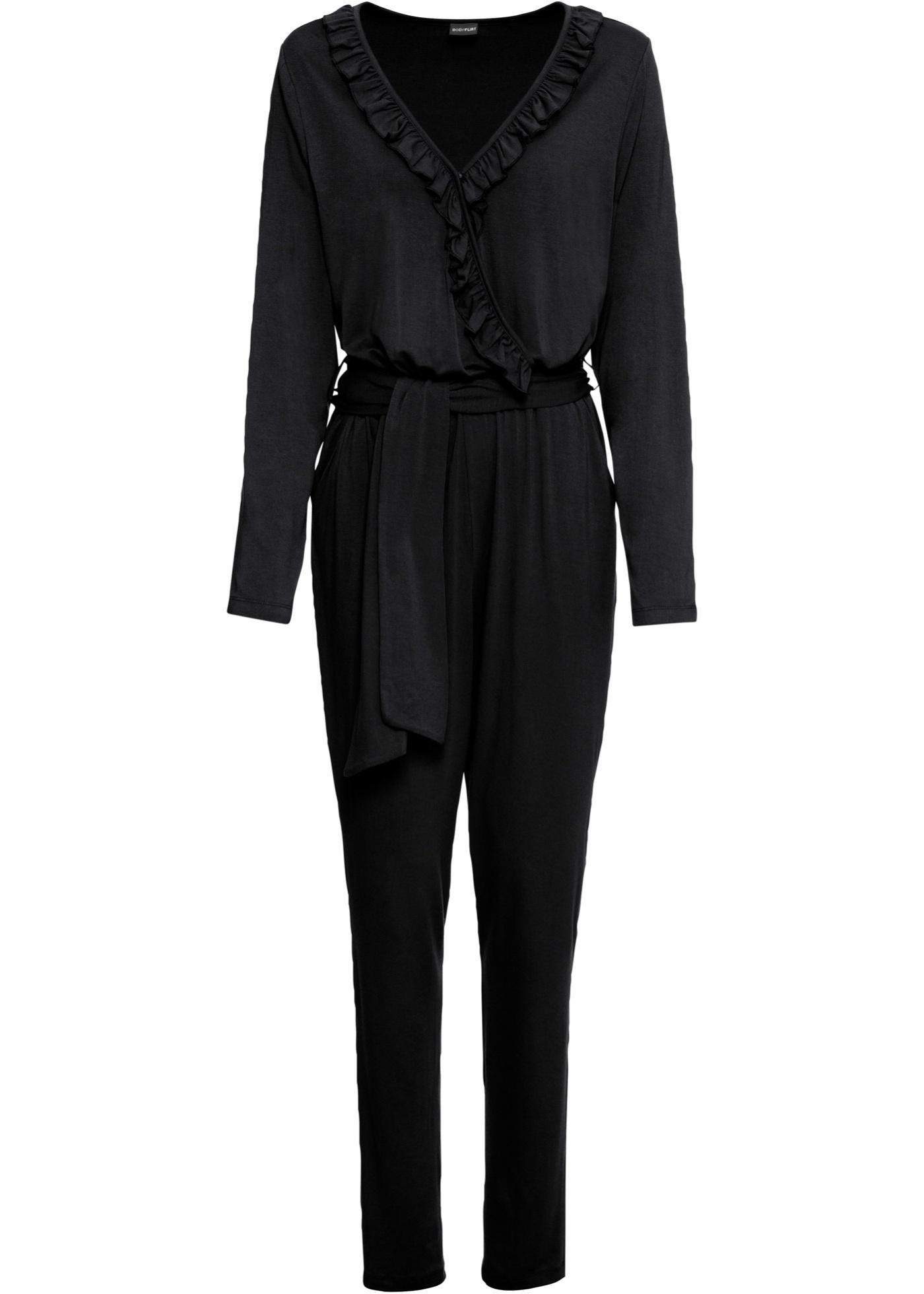 Jersey-Jumpsuit langarm  in schwarz für Damen von bonprix