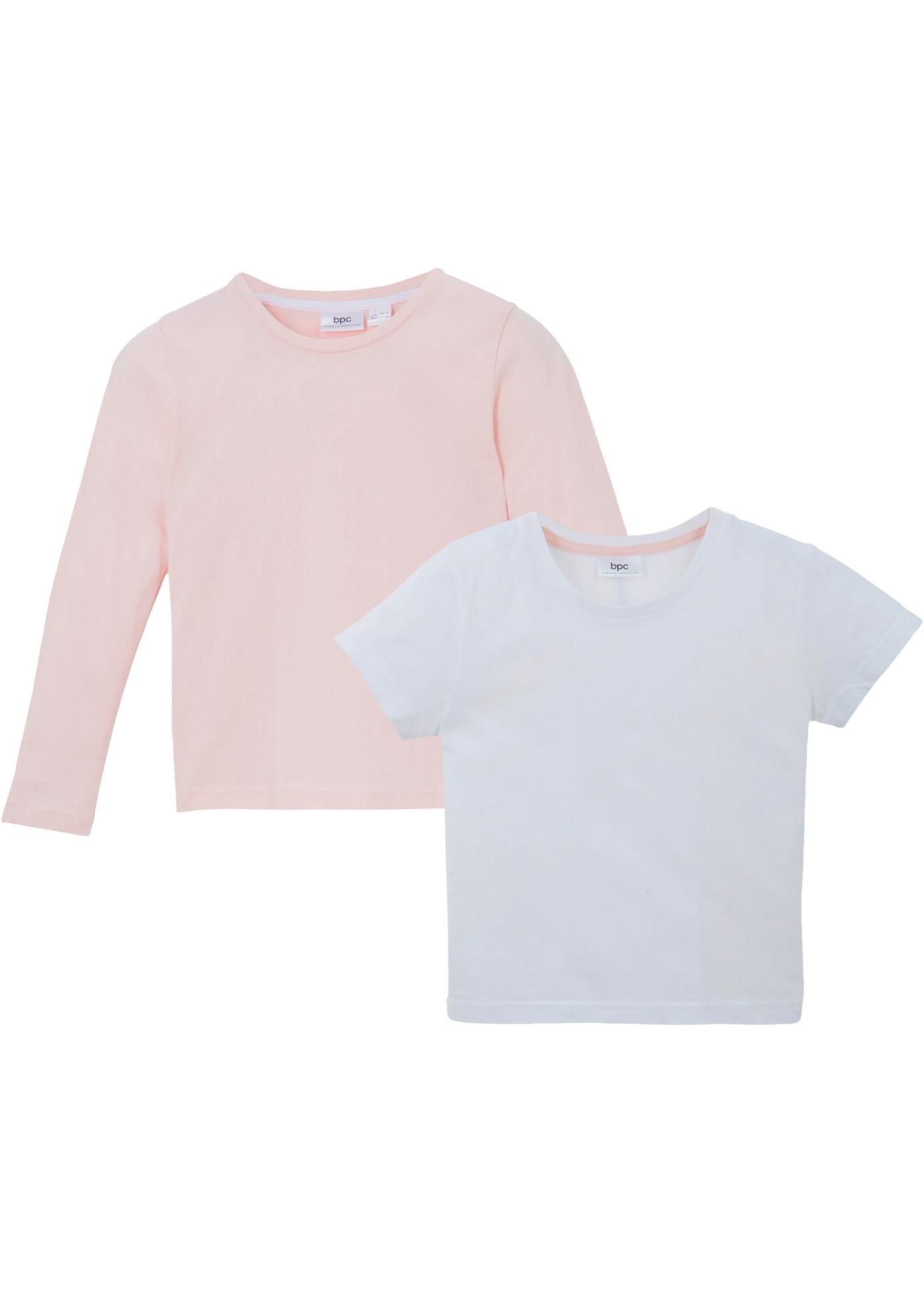 Mädchen T-Shirt + Langarmshirt (2-tlg.), extraweit in weiß für Mädchen von bonprix