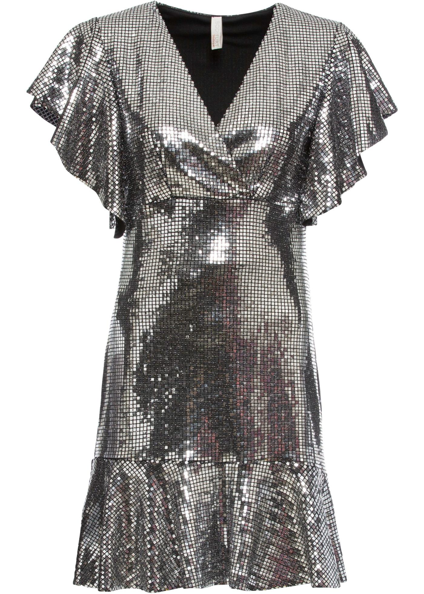 Kleid mit Volant kurzer Arm  in schwarz für Damen von bonprix