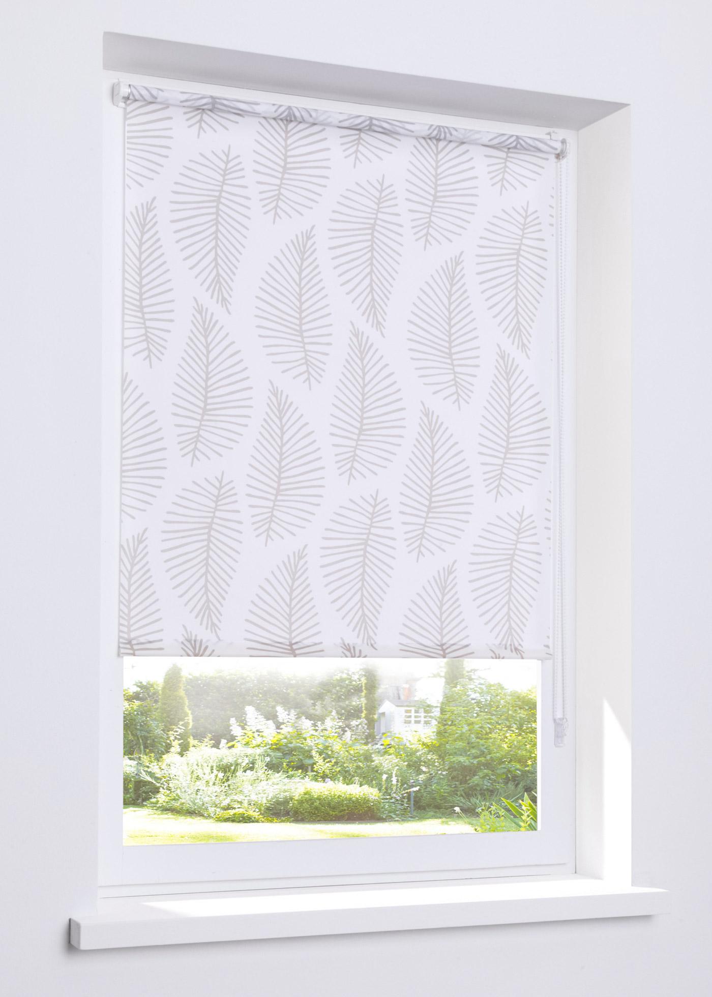 Sichtschutzrollo mit Blätter Druck in weiß von bonprix