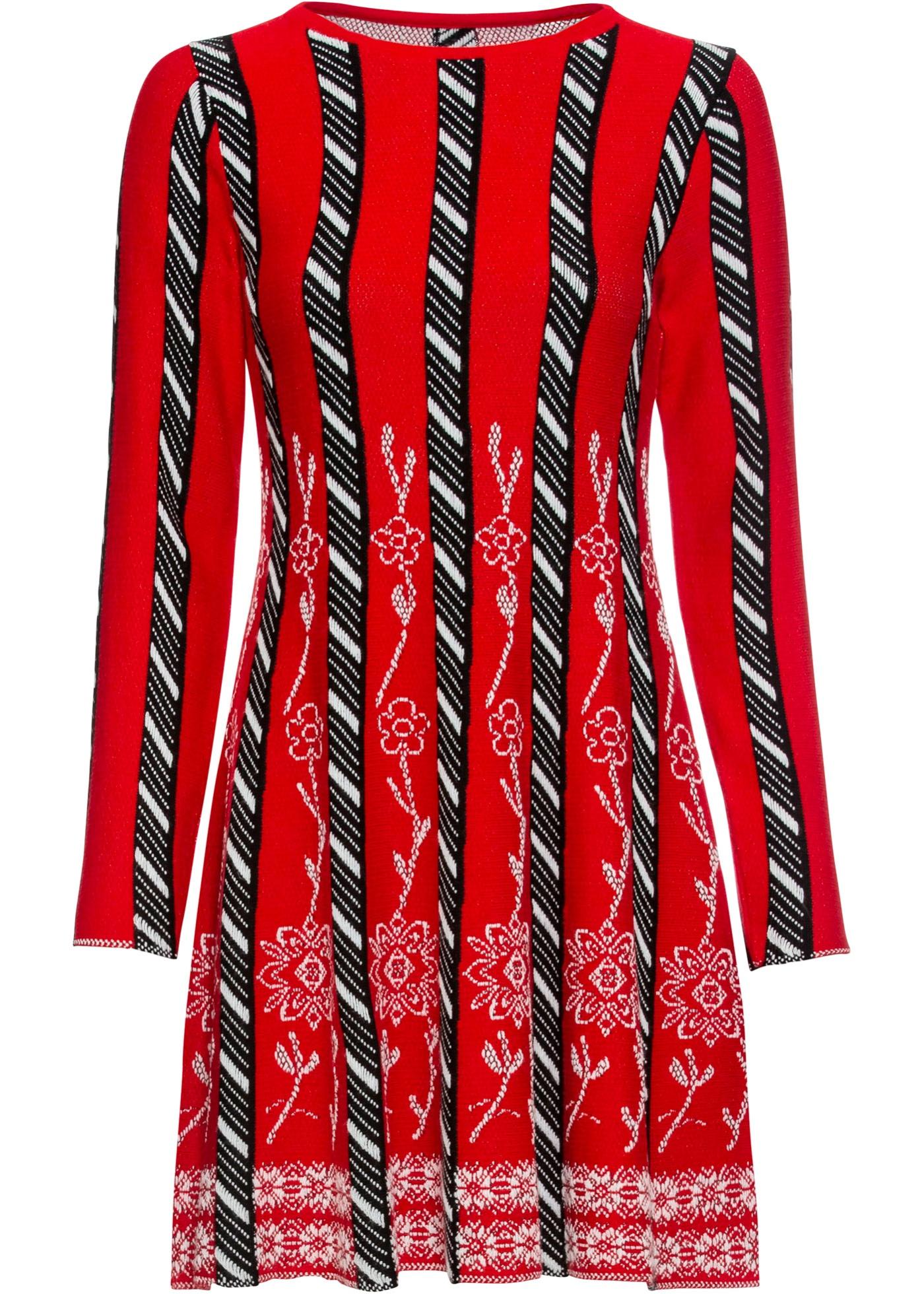Strickkleid mit Muster langarm  in rot für Damen von bonprix