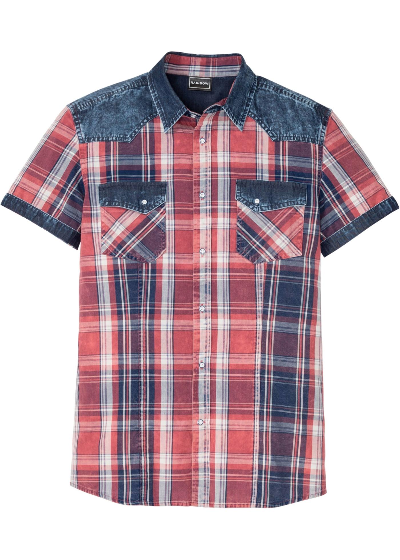 Kurzarmhemd, Slim Fit in rot für Herren von bonprix