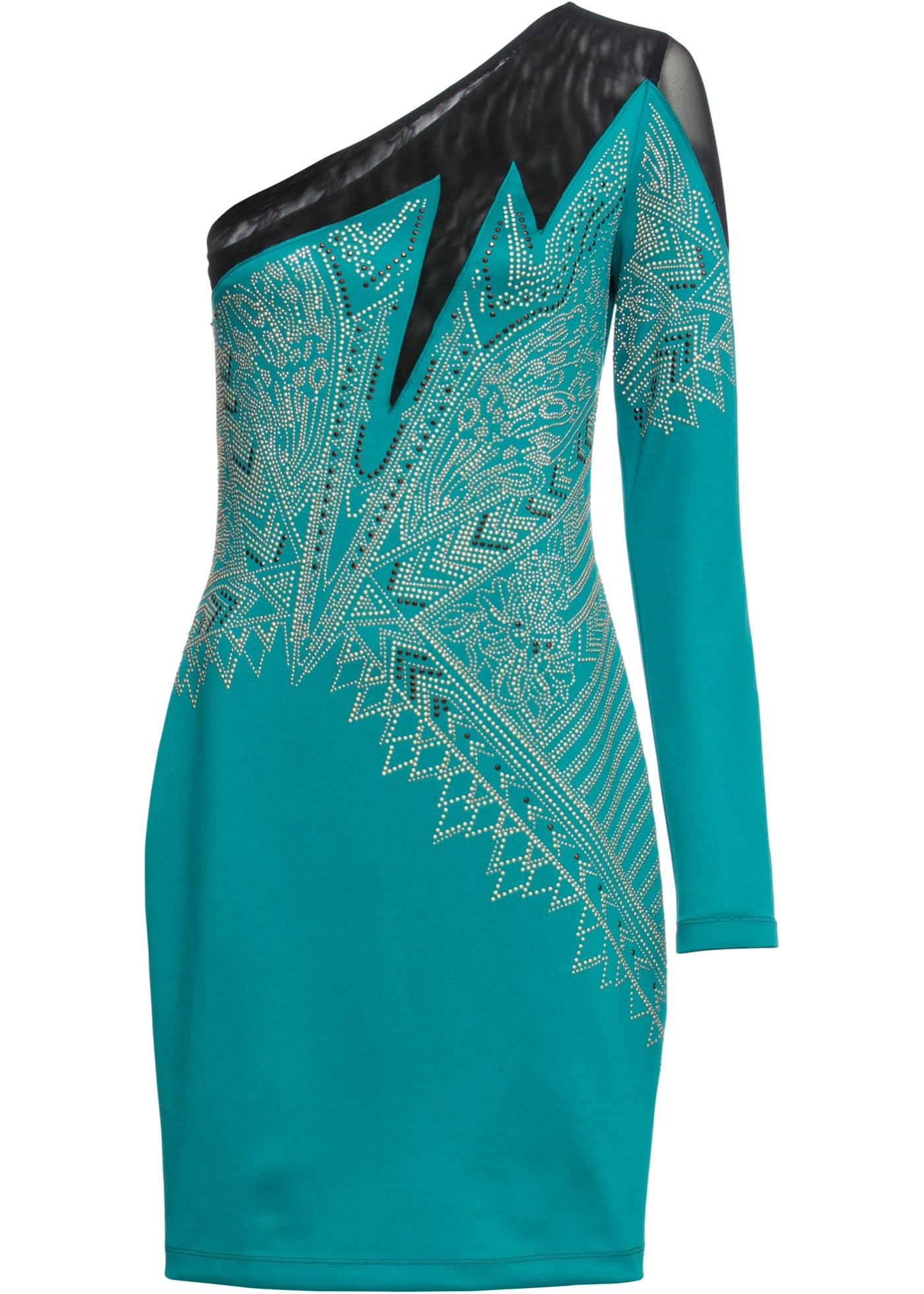 Party One-Shoulder-Kleid mit Strassteinen langarm  in grün für Damen von bonprix