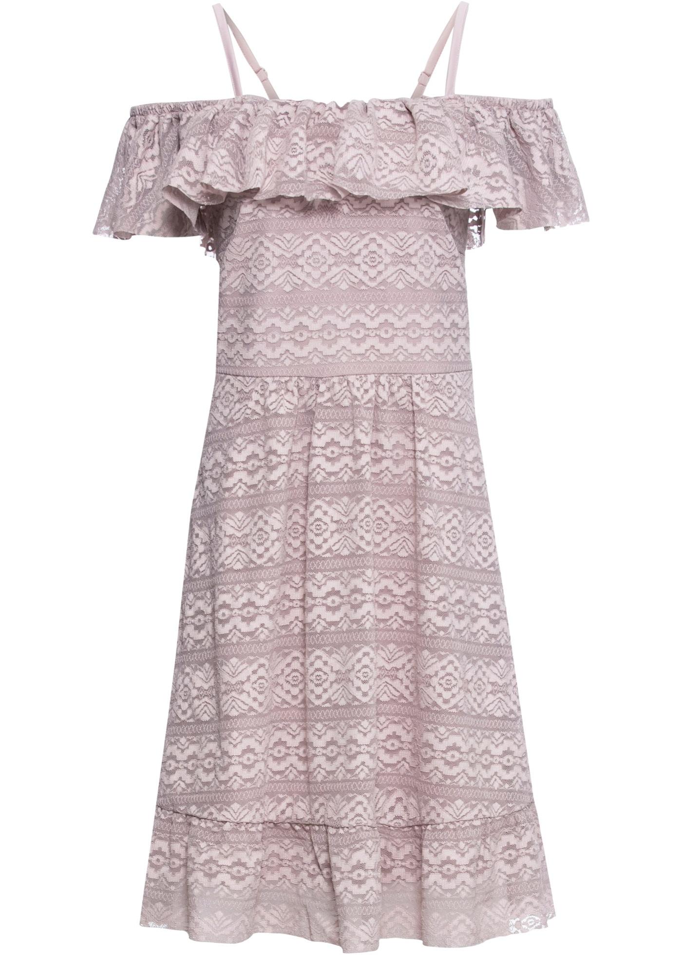Off-Shoulder-Kleid aus Spitze ohne Ärmel  in lila für Damen von bonprix